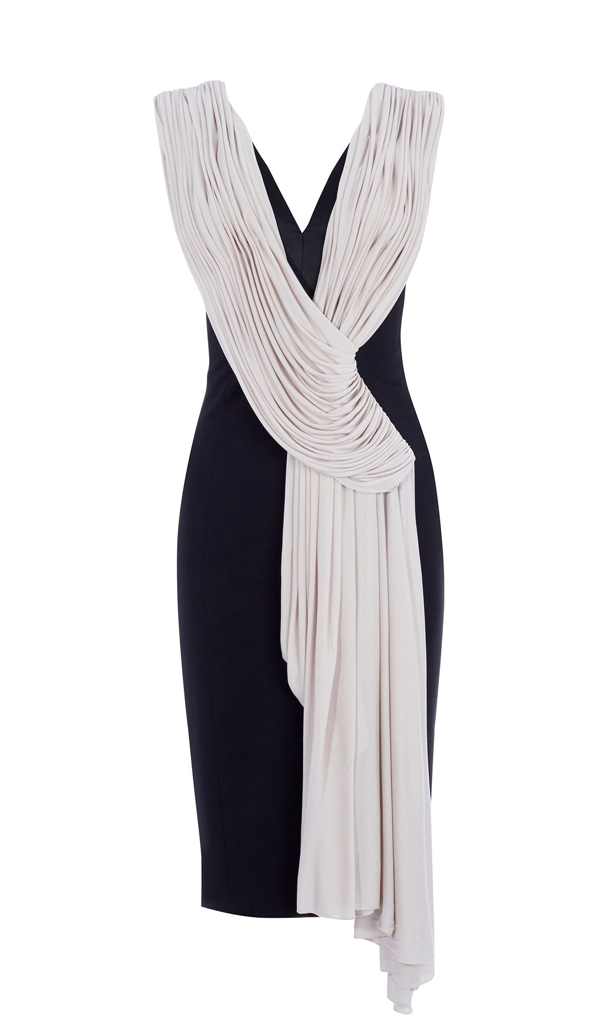 Karen Millen Crepe And Drape Pencil Dress, Black/White