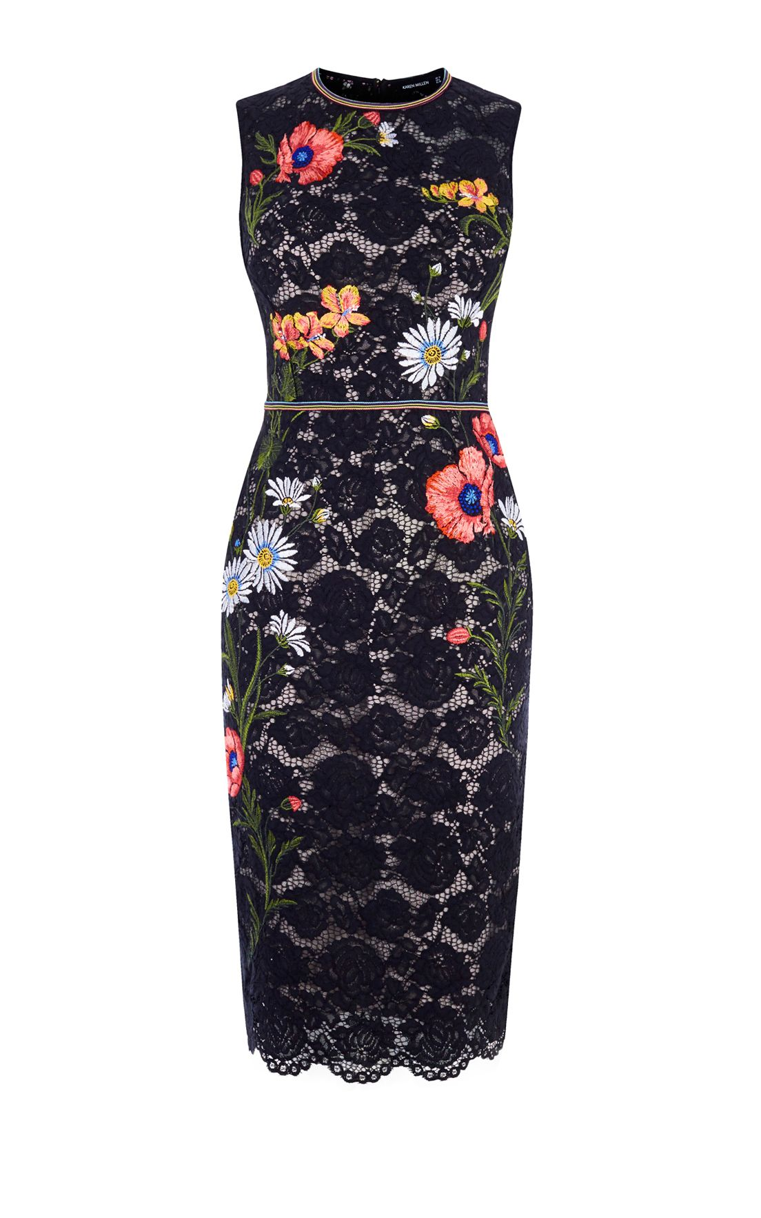 Karen Millen Lace Embroidered Pencil Dress, Black Multi