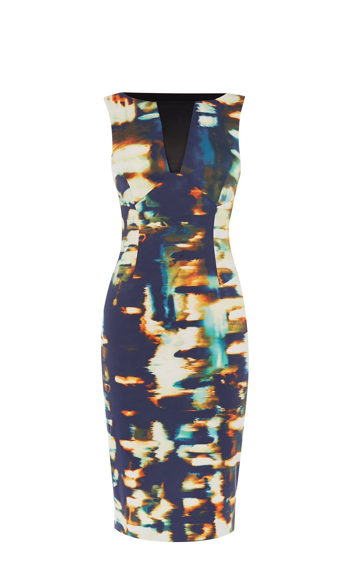 Karen Millen Panelled Pencil Dress, Blue Multi