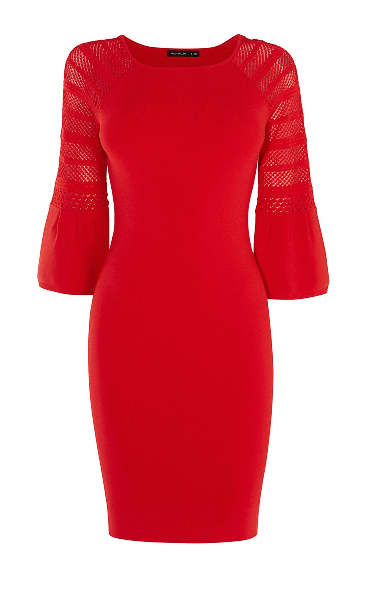 Karen Millen Fluted Sleeve Dress, Red