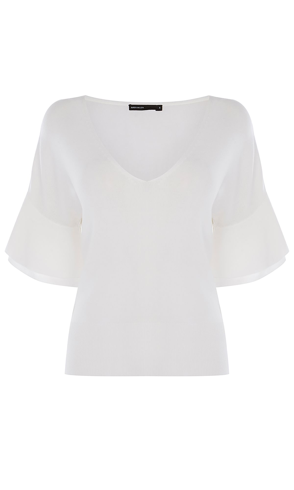Karen Millen Frill Sleeve Top, White