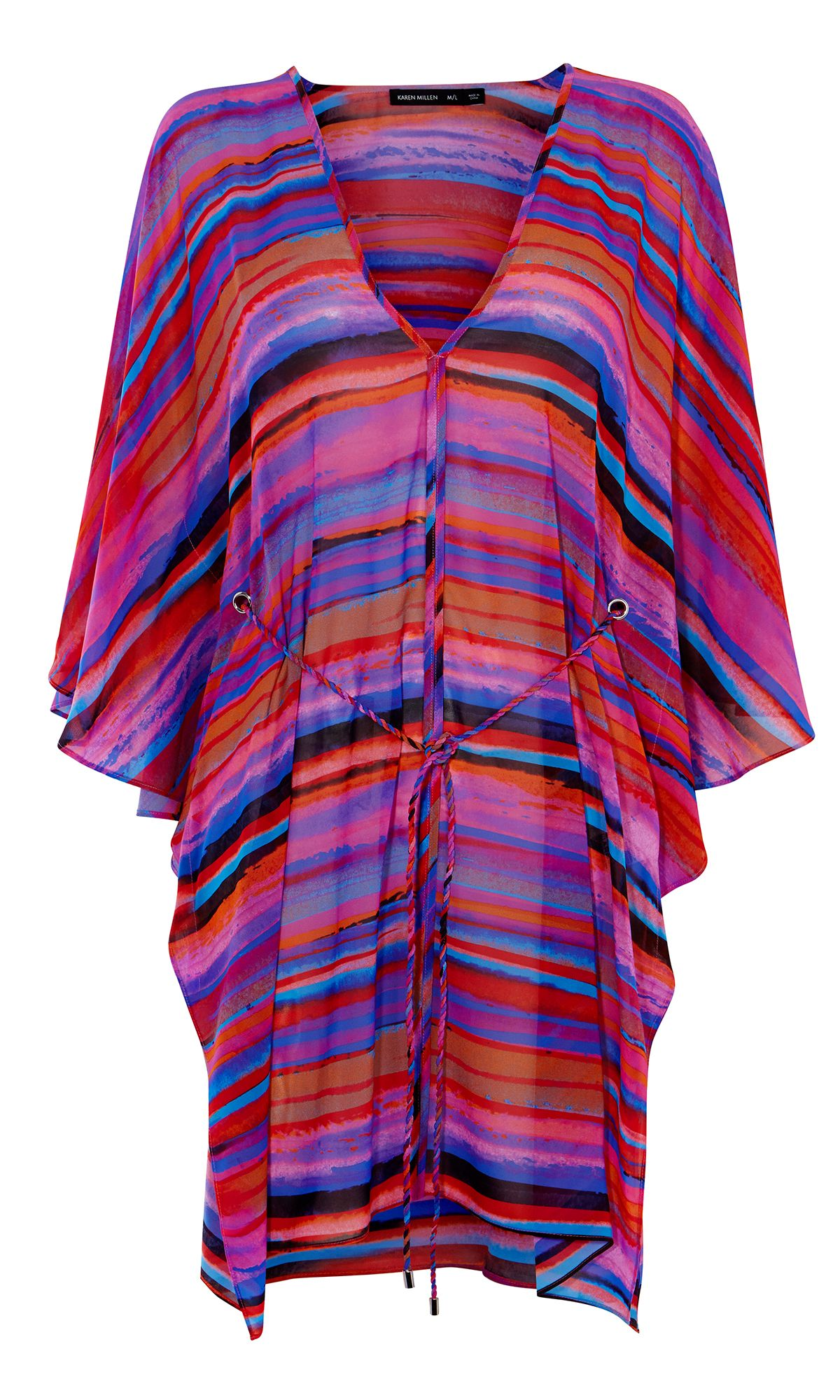 Karen Millen Colourful Stripe Kaftan, Multi-Coloured
