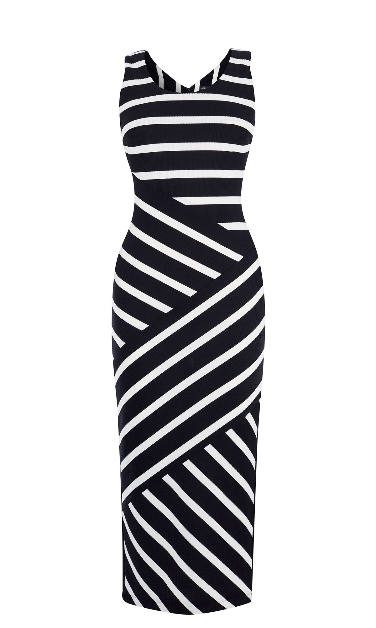 Karen Millen Wide Stripe Jersey Midi Dress, Black/White