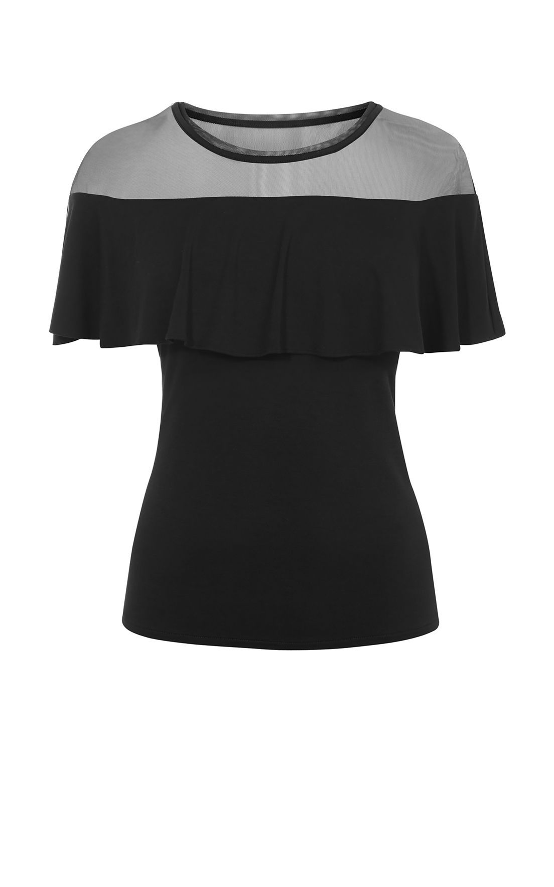 Karen Millen Mesh and Frill Top, Black