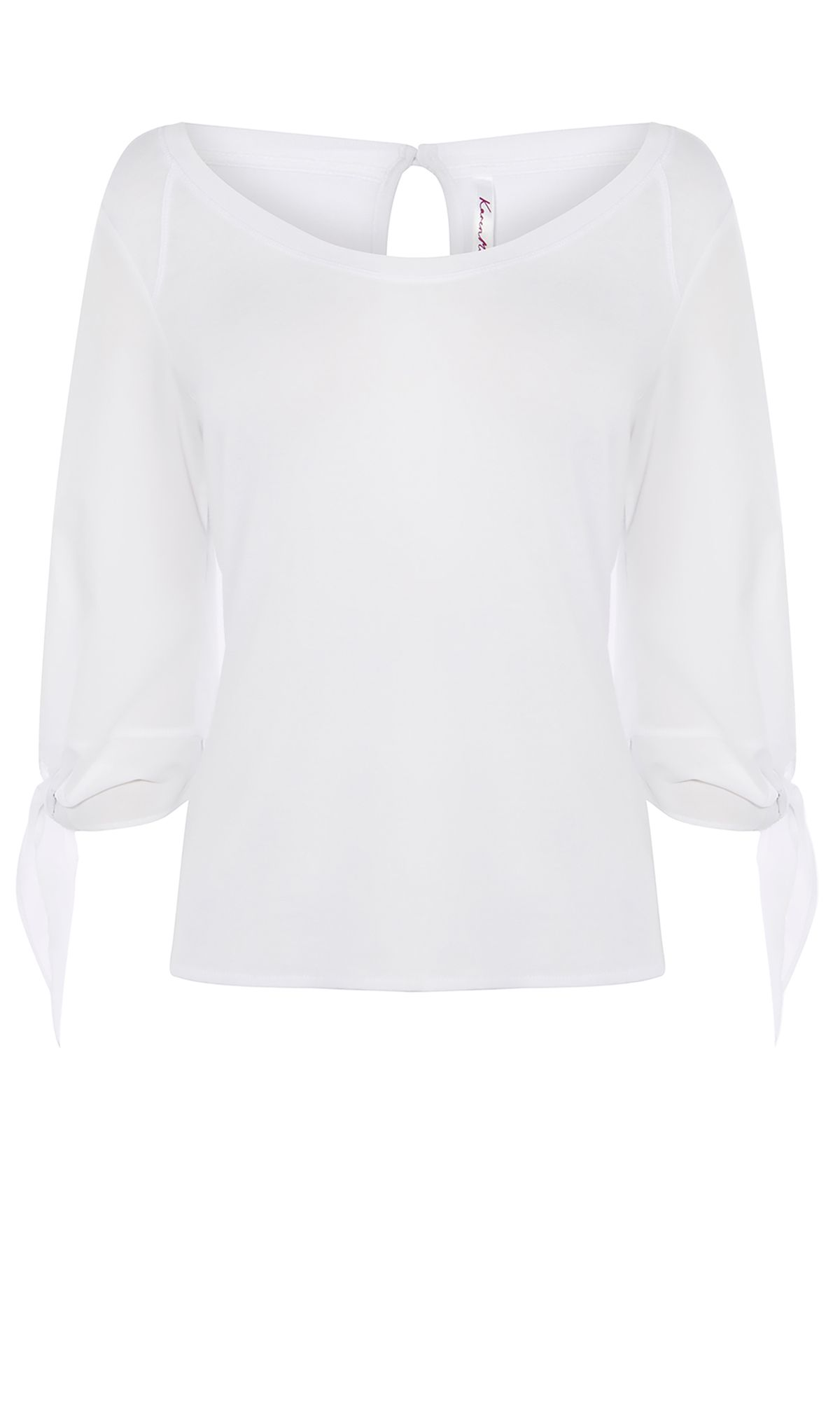 Karen Millen White Tie Sleeve Top, White