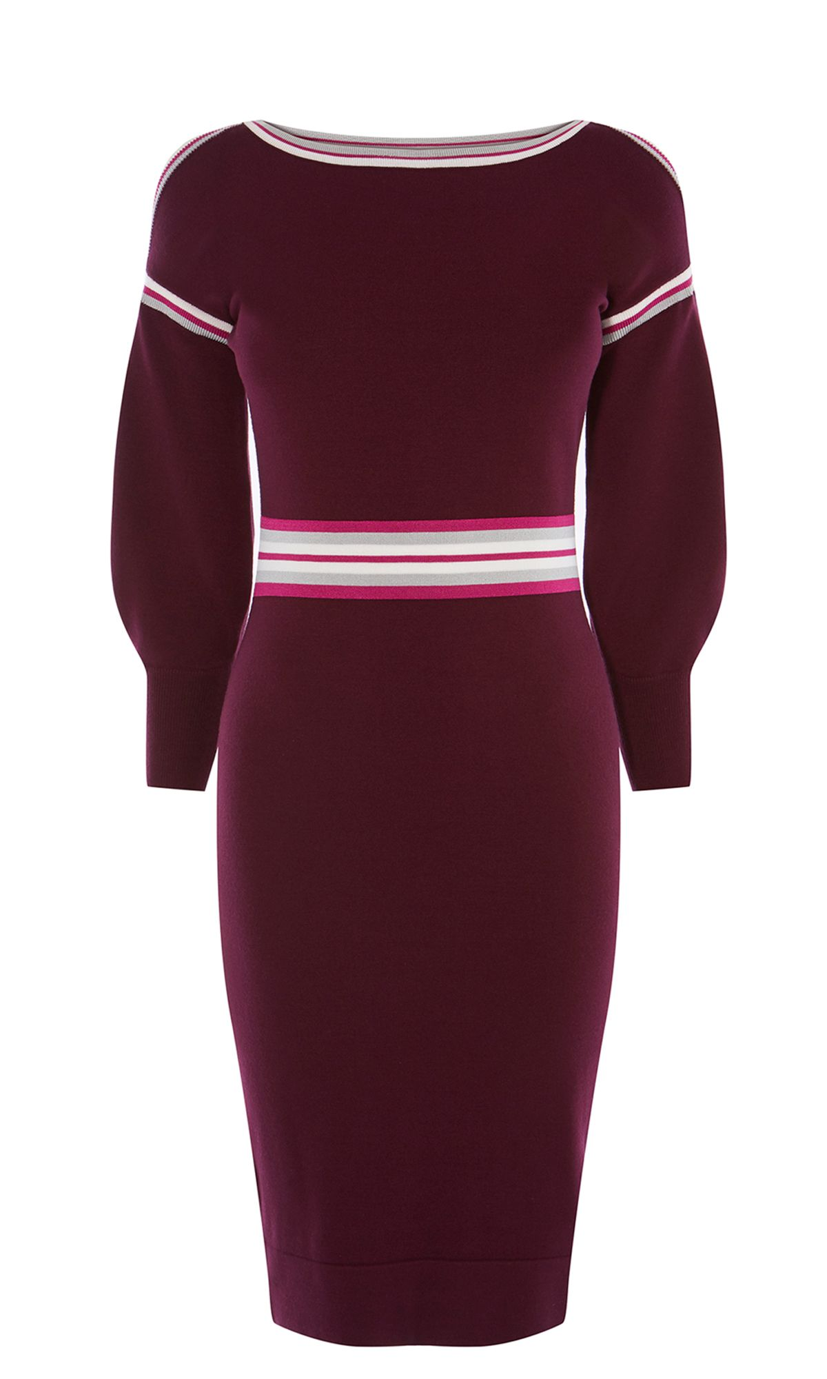Karen Millen Sporty Stripe Knitted Dress, Dark Red