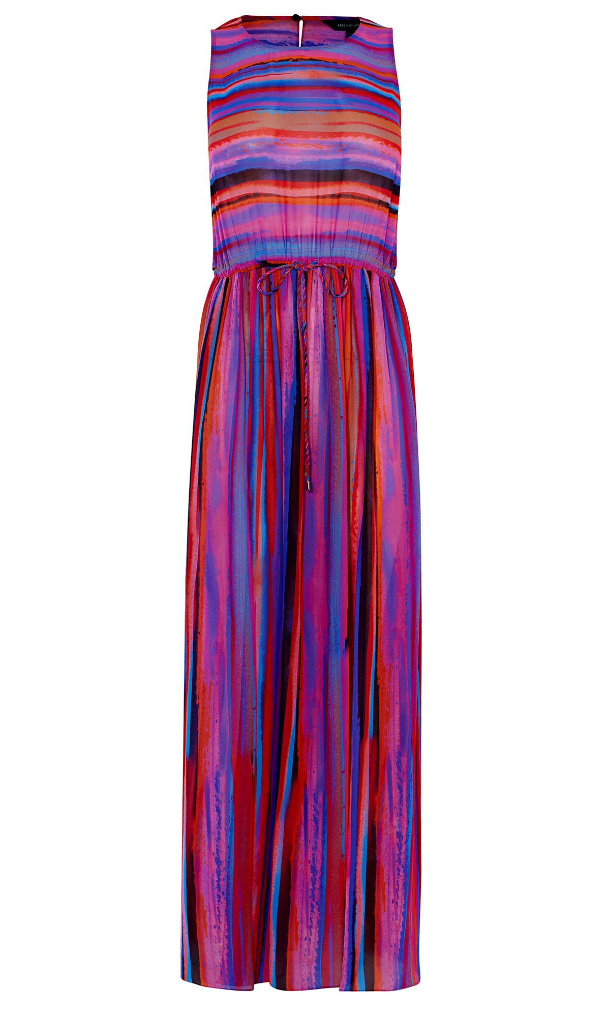 Karen Millen Colourful Stripe Maxi Dress, Multi-Coloured