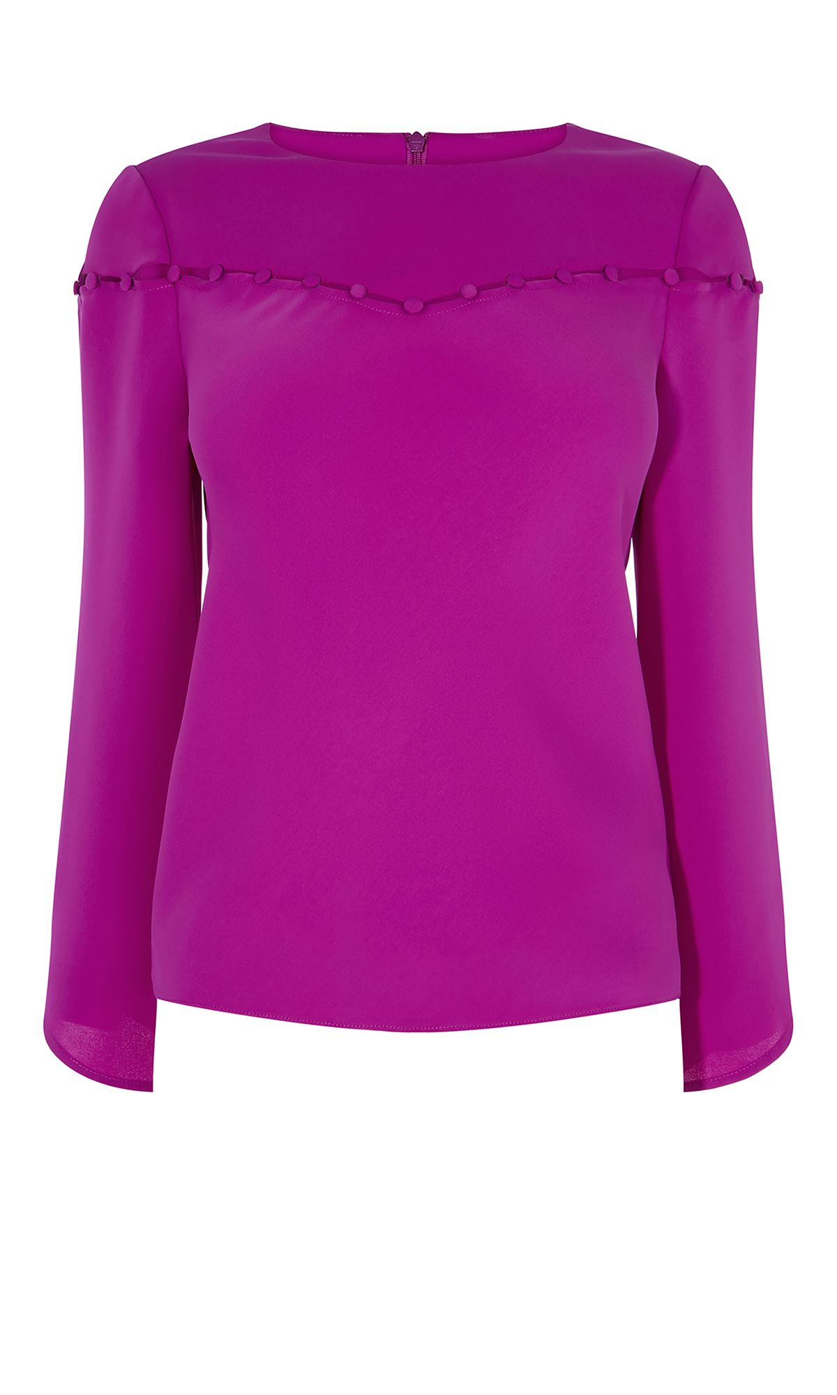 Karen Millen Button-Detail Blouse, Magenta