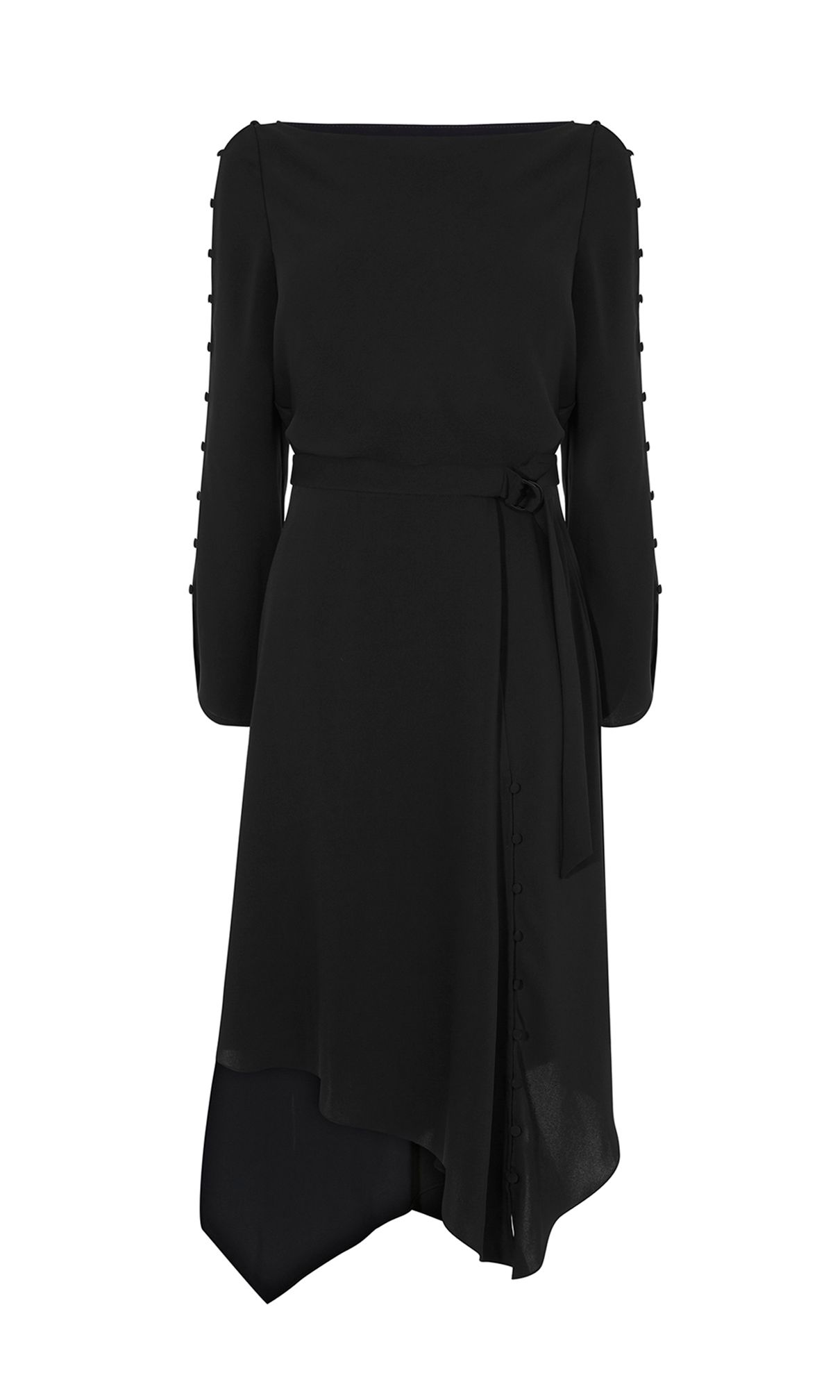 Karen Millen Asymmetric Cut-Out Midi, Black