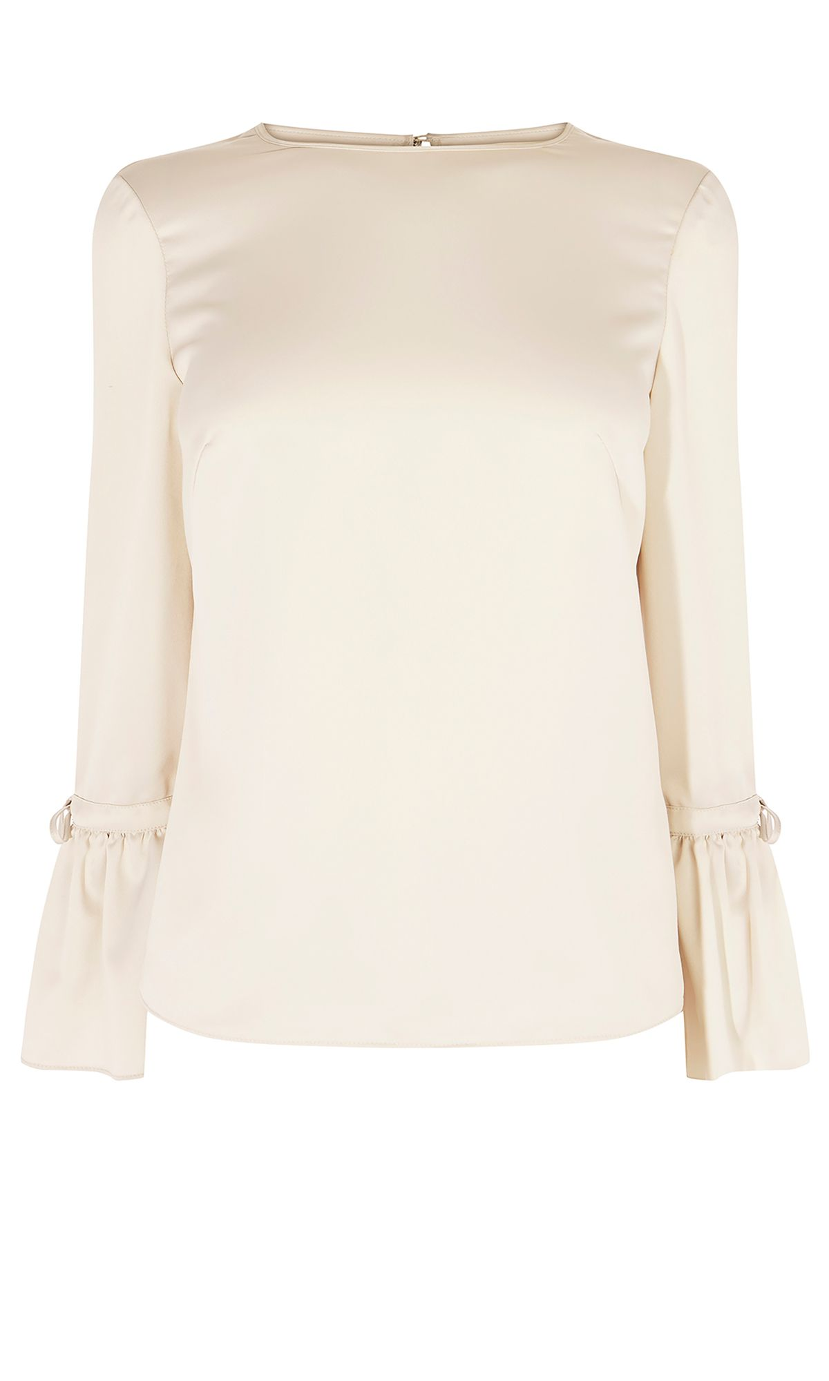 Karen Millen Satin Fluted Blouse, White