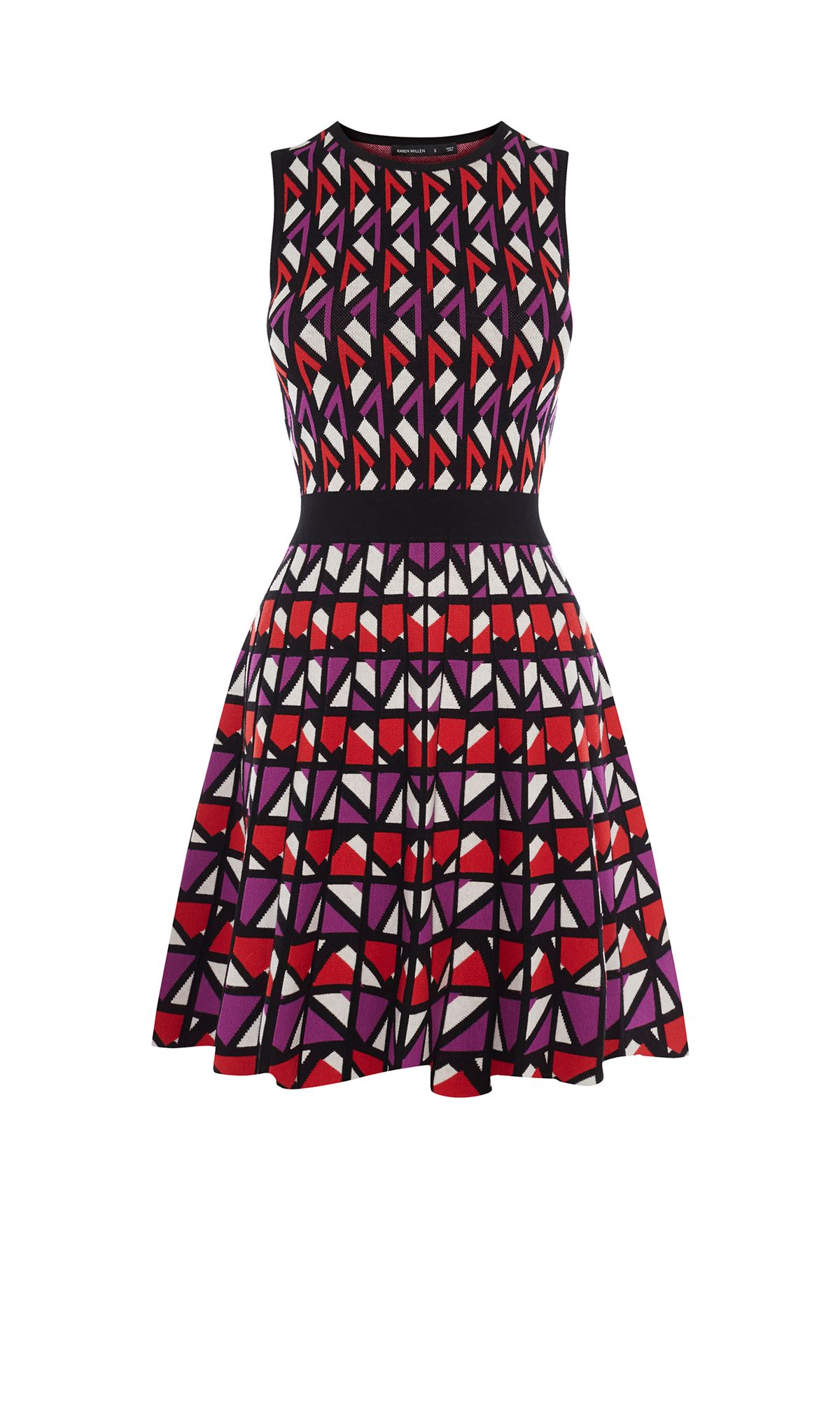 Karen Millen Geometric Knitted A-Line Dress, Multi-Coloured