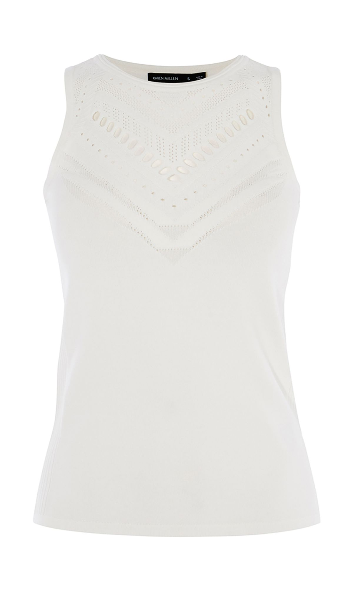 Karen Millen Open Knit Top, White