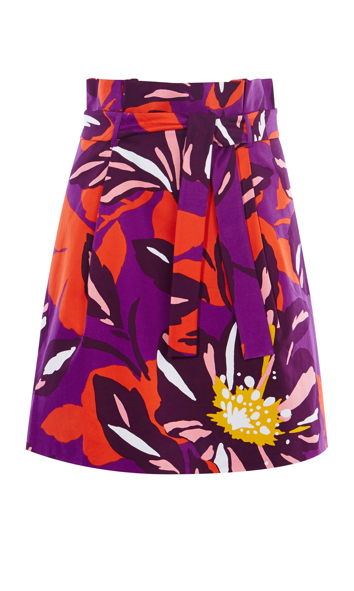 Karen Millen Floral Cotton Full Skirt, Multi-Coloured