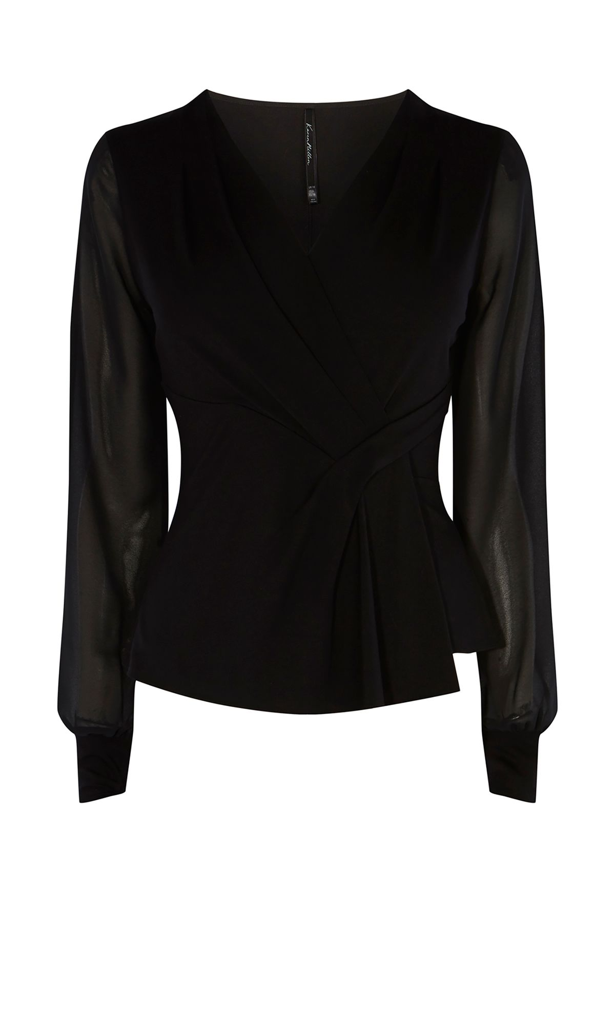 Karen Millen Draped Long-Sleeve Top, Black