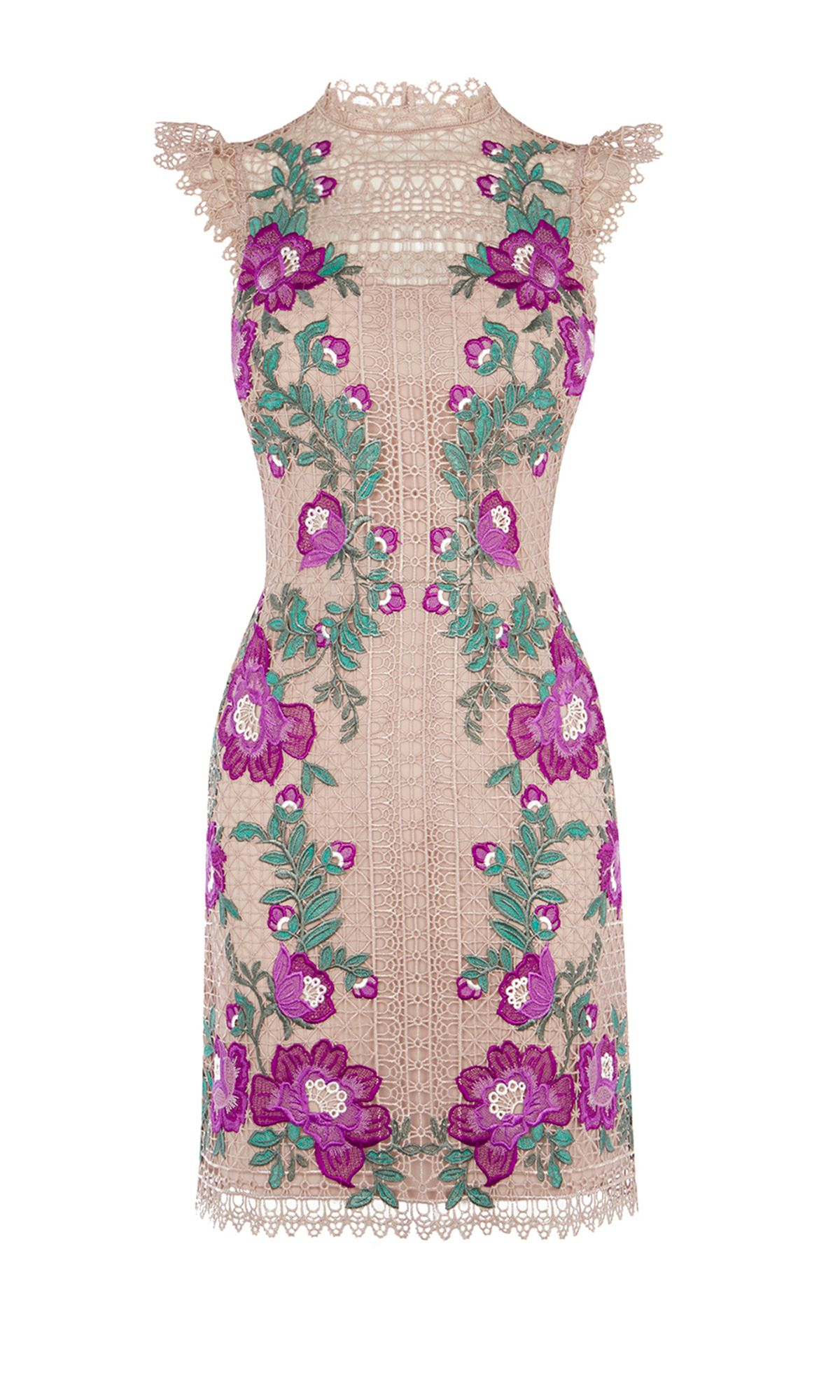 Karen Millen Floral Embroidered Mini Dress, Multi-Coloured