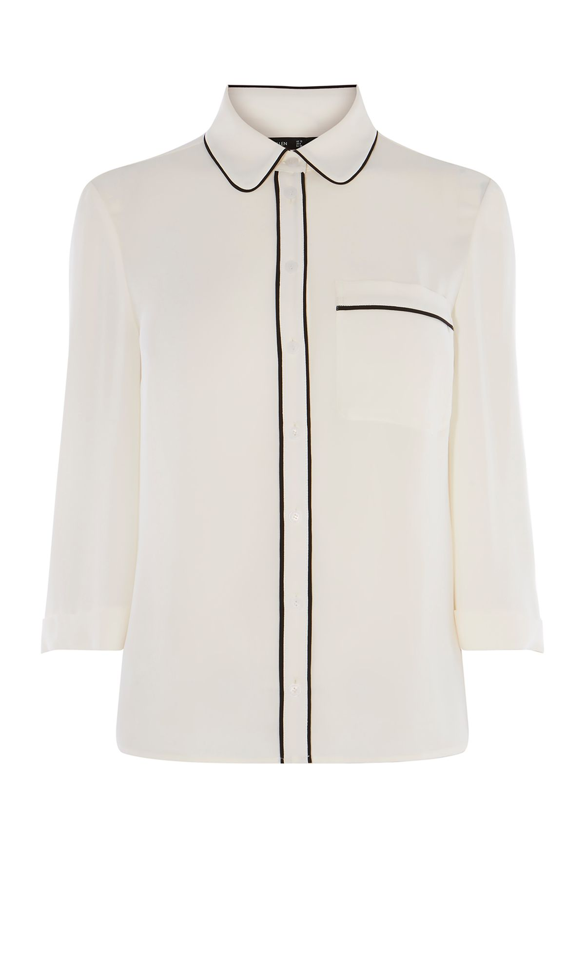 Karen Millen Contrast Piping Shirt, White