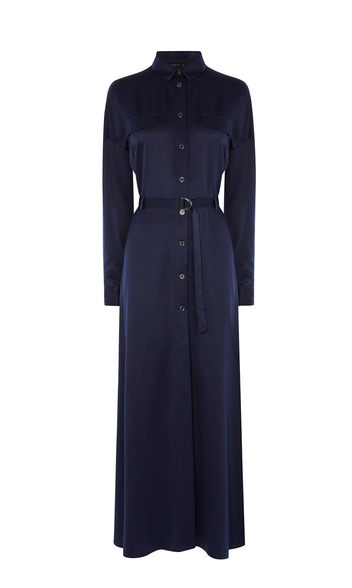 Karen Millen Satin Maxi Shirt Dress, Blue