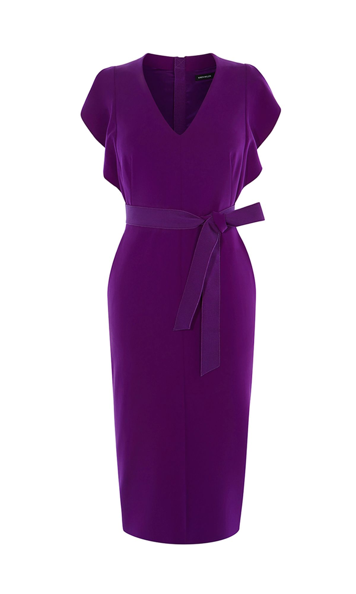 Karen Millen Frill Pencil Dress, Purple