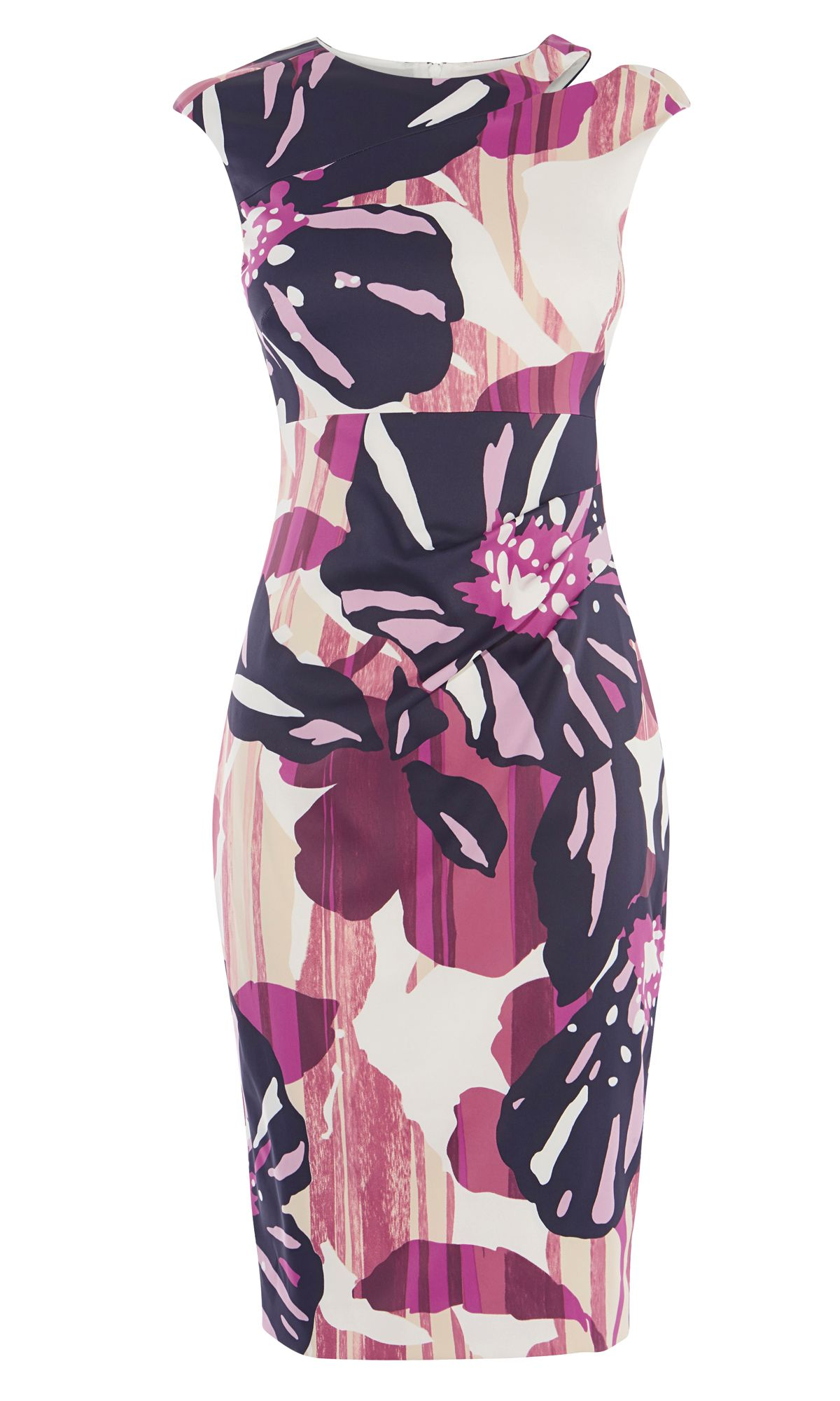 Karen Millen Floral Cut-Out Pencil Dress, Multi-Coloured