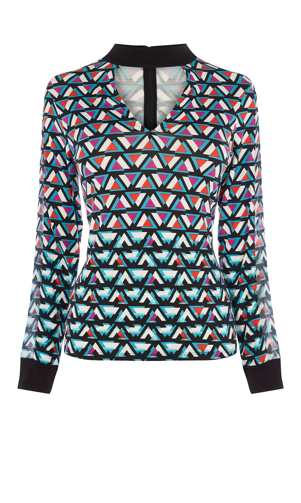 Karen Millen Geometric Choker Blouse, Multi-Coloured