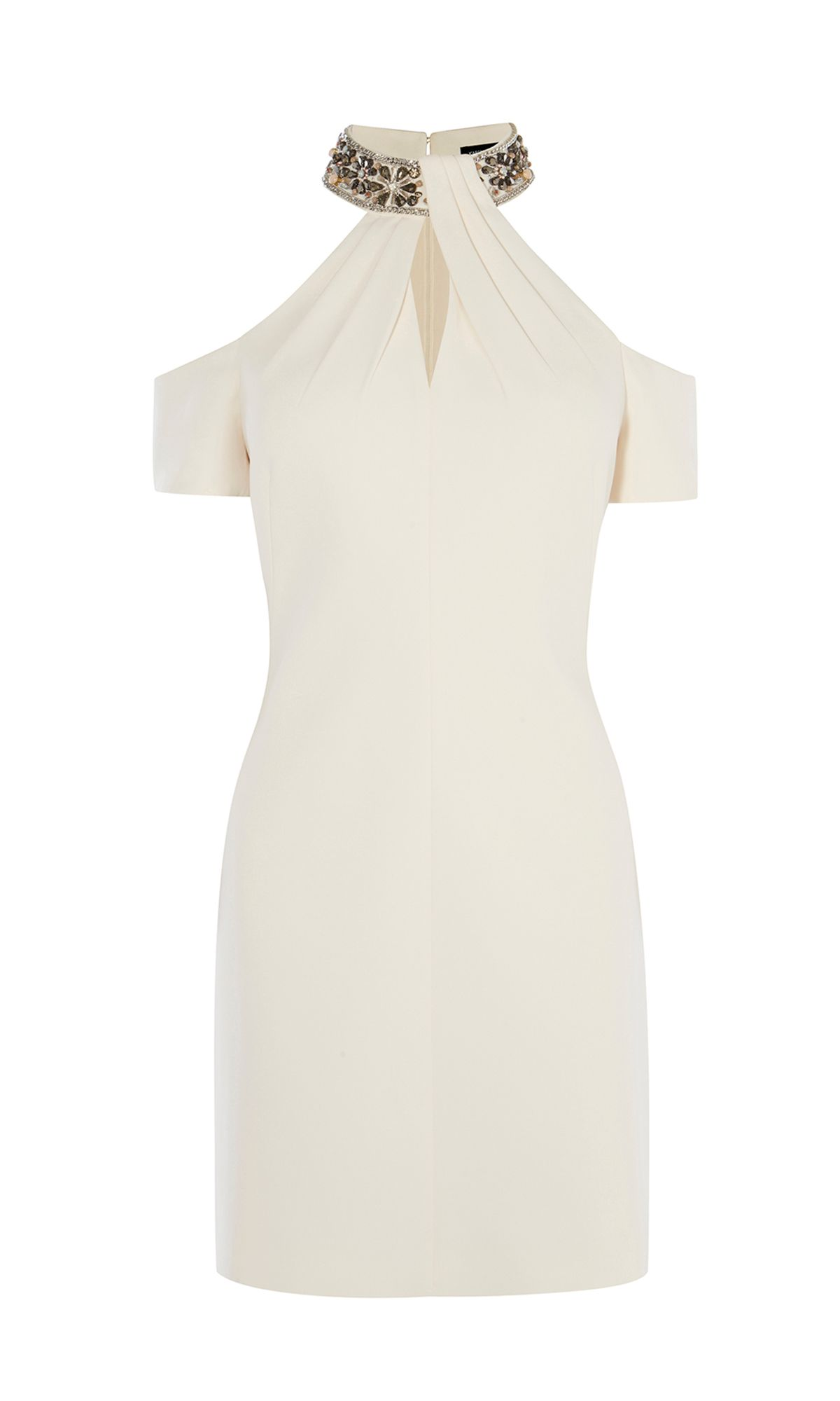 Karen Millen Nude Jewel Collar Dress, Nude