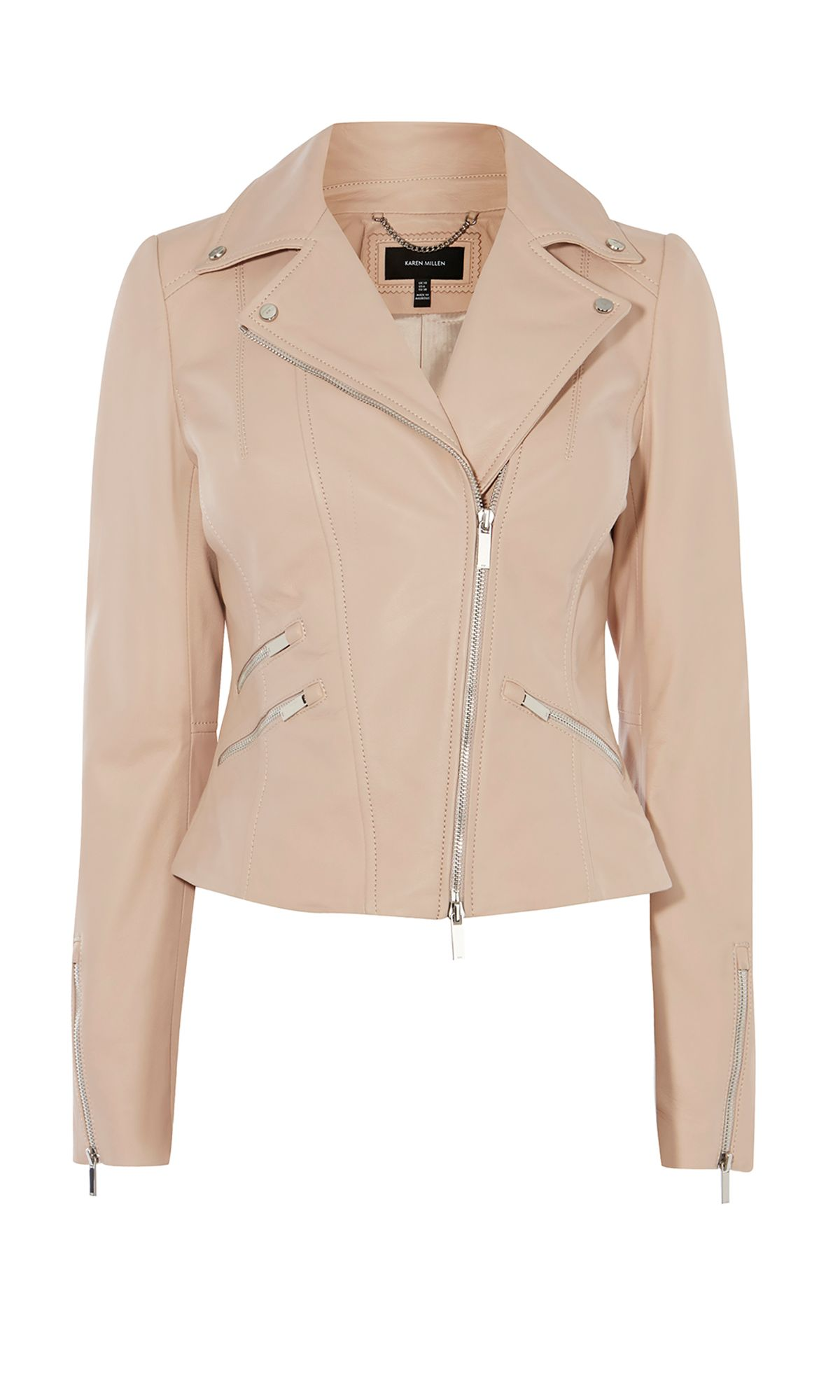Karen Millen Leather Biker Jacket, Pastel Pink