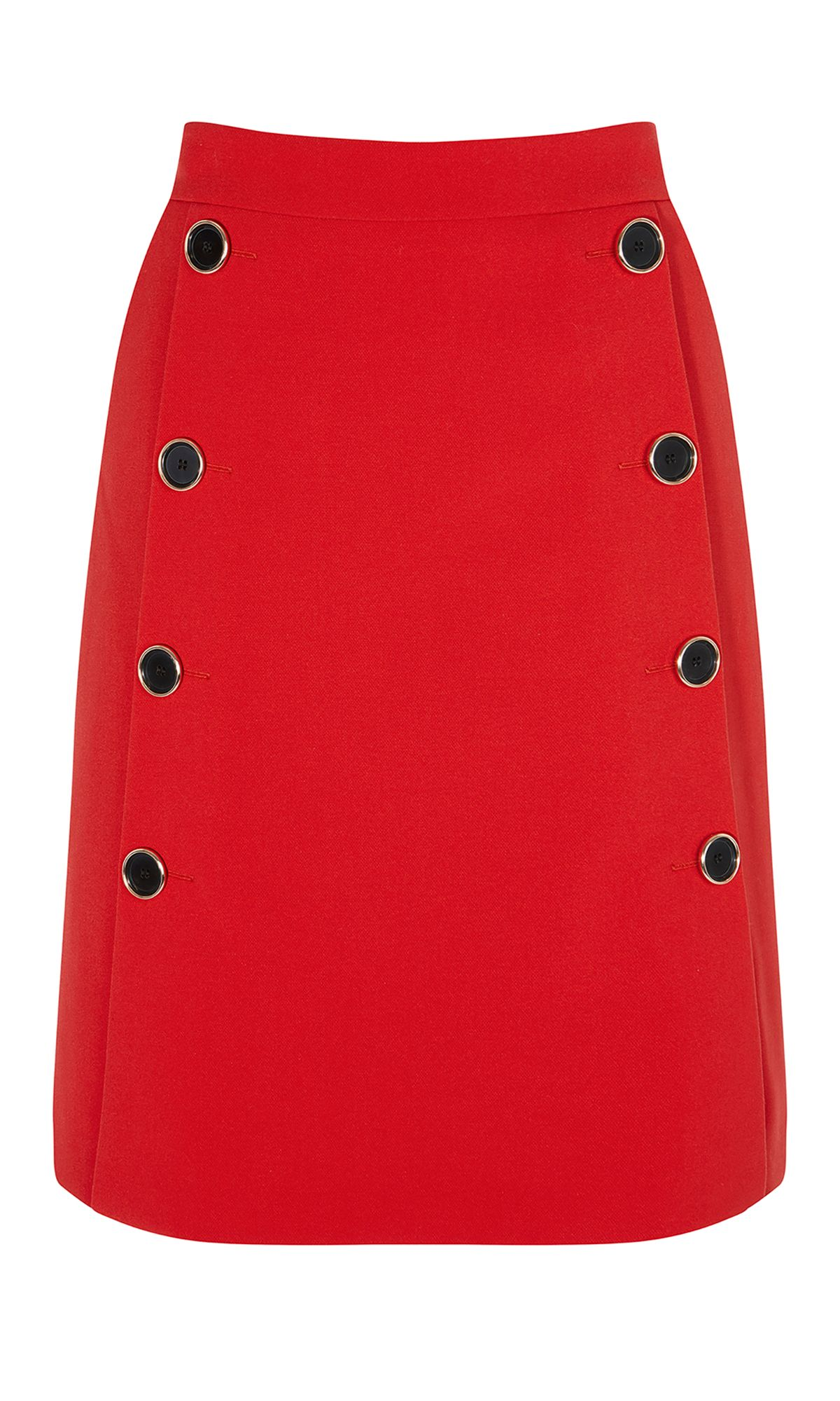 Karen Millen Red Button A-Line Skirt, Red