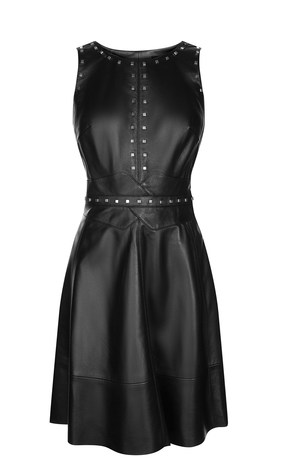 Karen Millen Studded Leather Skater Dress, Black