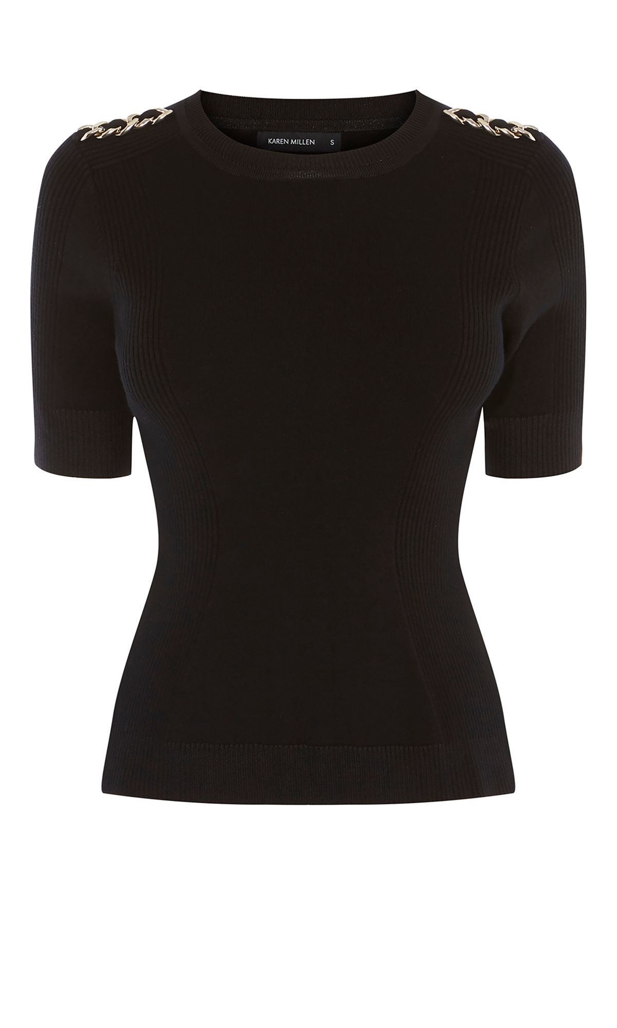 Karen Millen Chain Knitted Top, Black