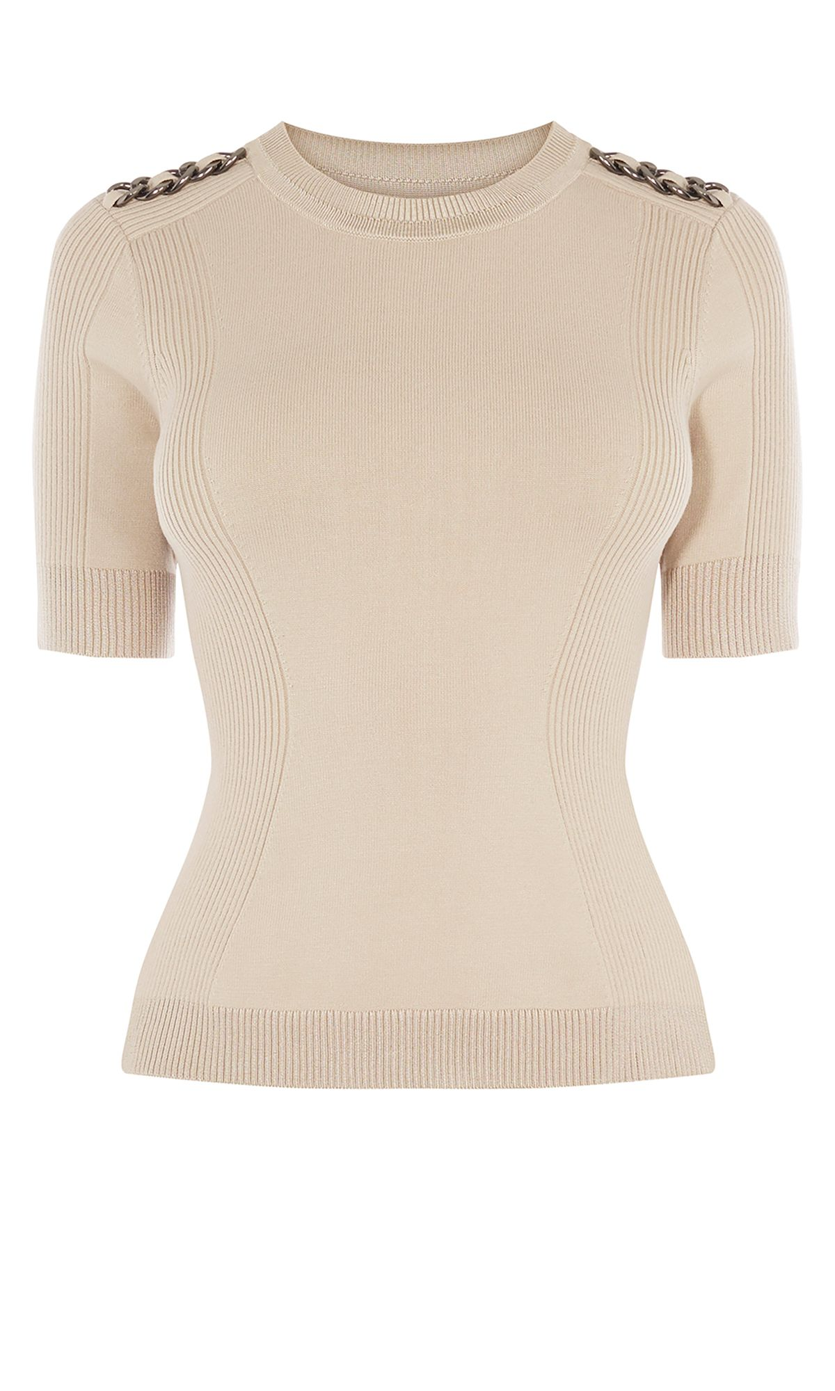 Karen Millen Chain Knitted Top, Stone