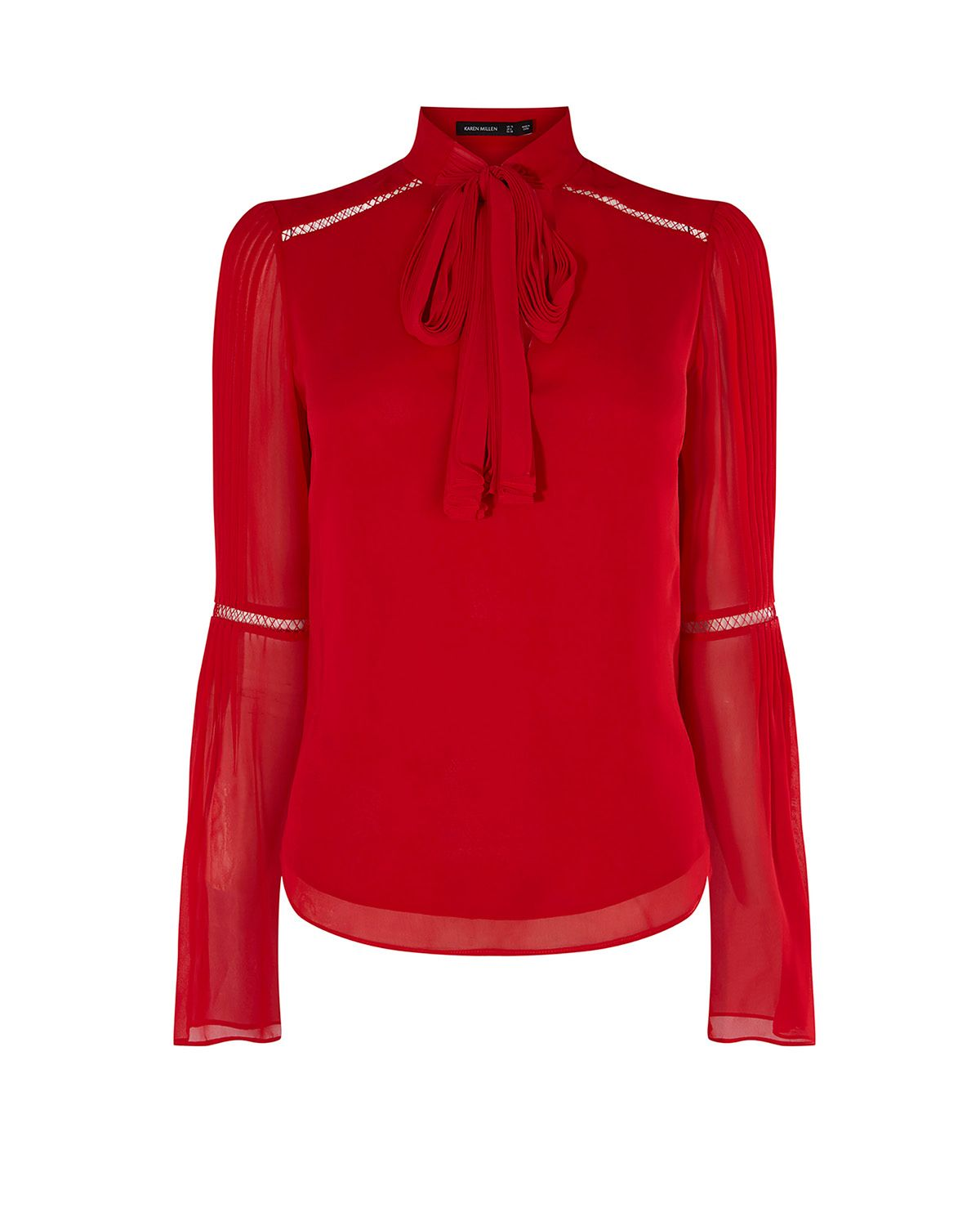 Karen Millen Pleated Tie-Neck Top, Red