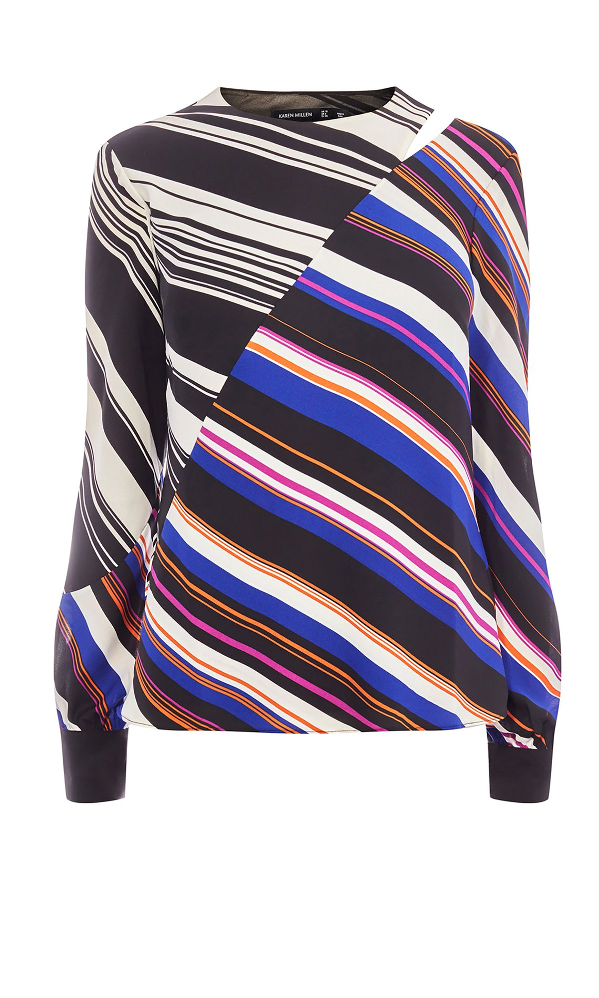 Karen Millen Striped Cold-Shoulder Top, Multi-Coloured