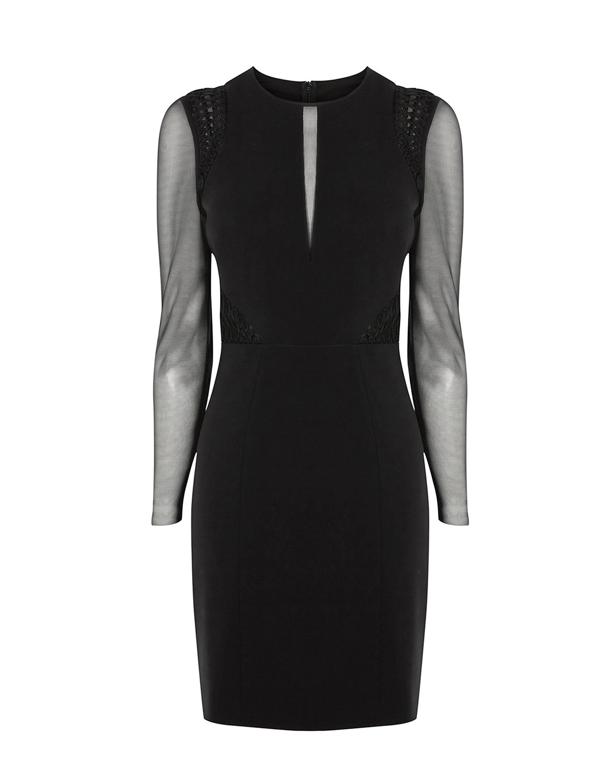 Karen Millen Mesh Long Sleeve Pencil Dress, Black