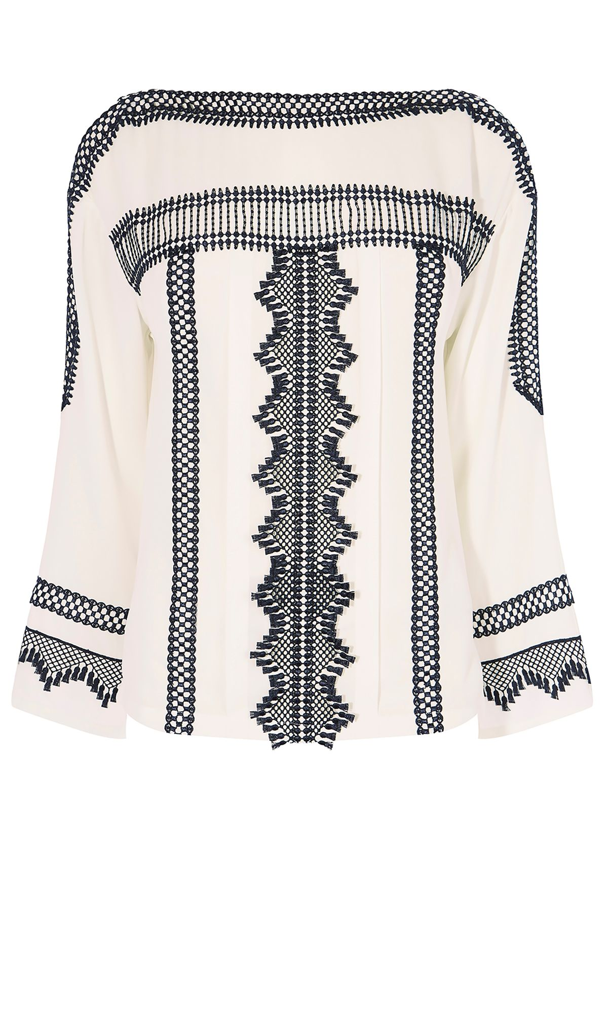 Karen Millen Lace Boho Blouse, Multi-Coloured