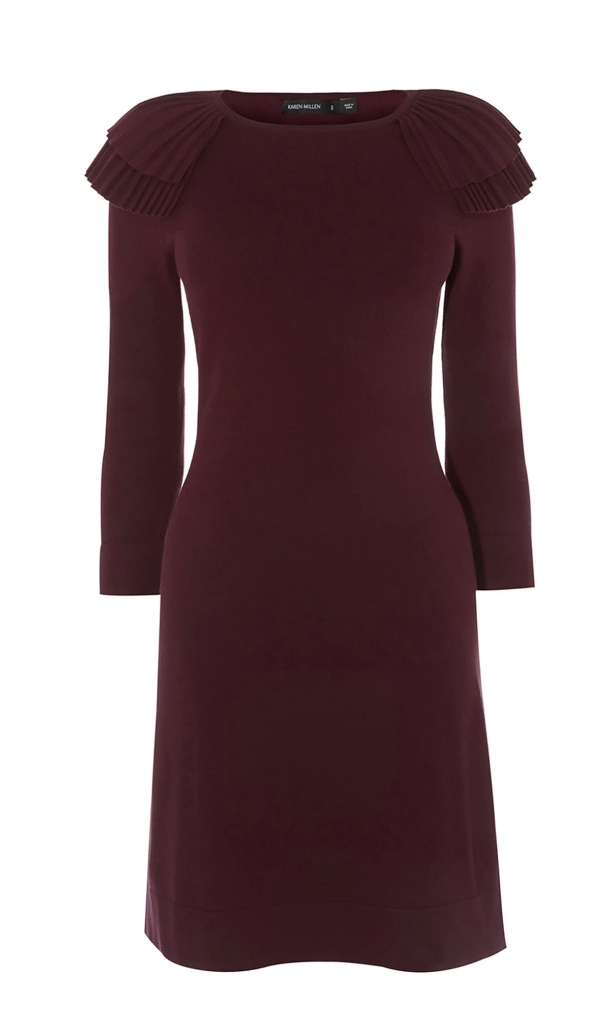 Karen Millen Frill Knitted Pencil Dress, Aubergine