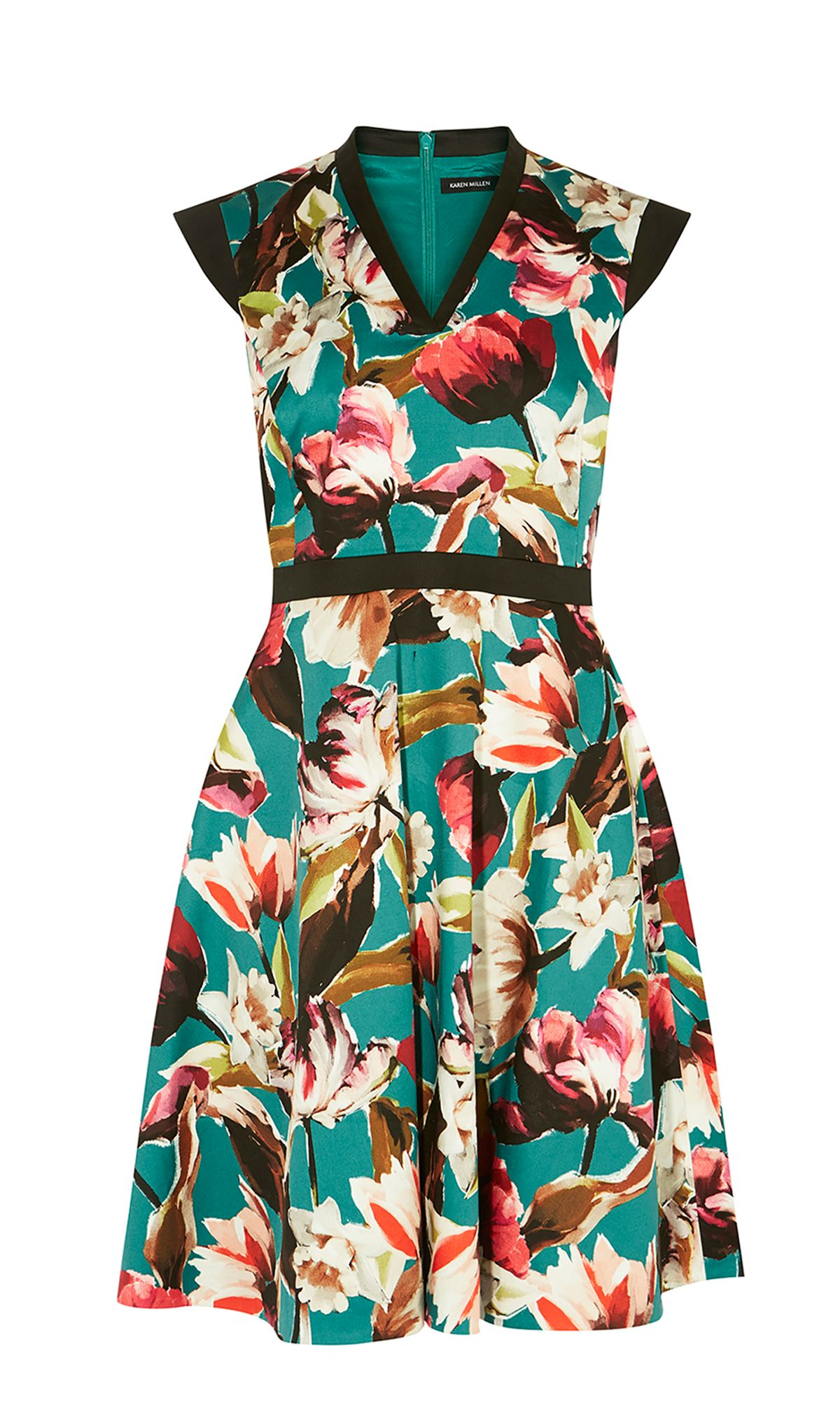 Karen Millen Floral Cotton Skater Dress, Multi-Coloured
