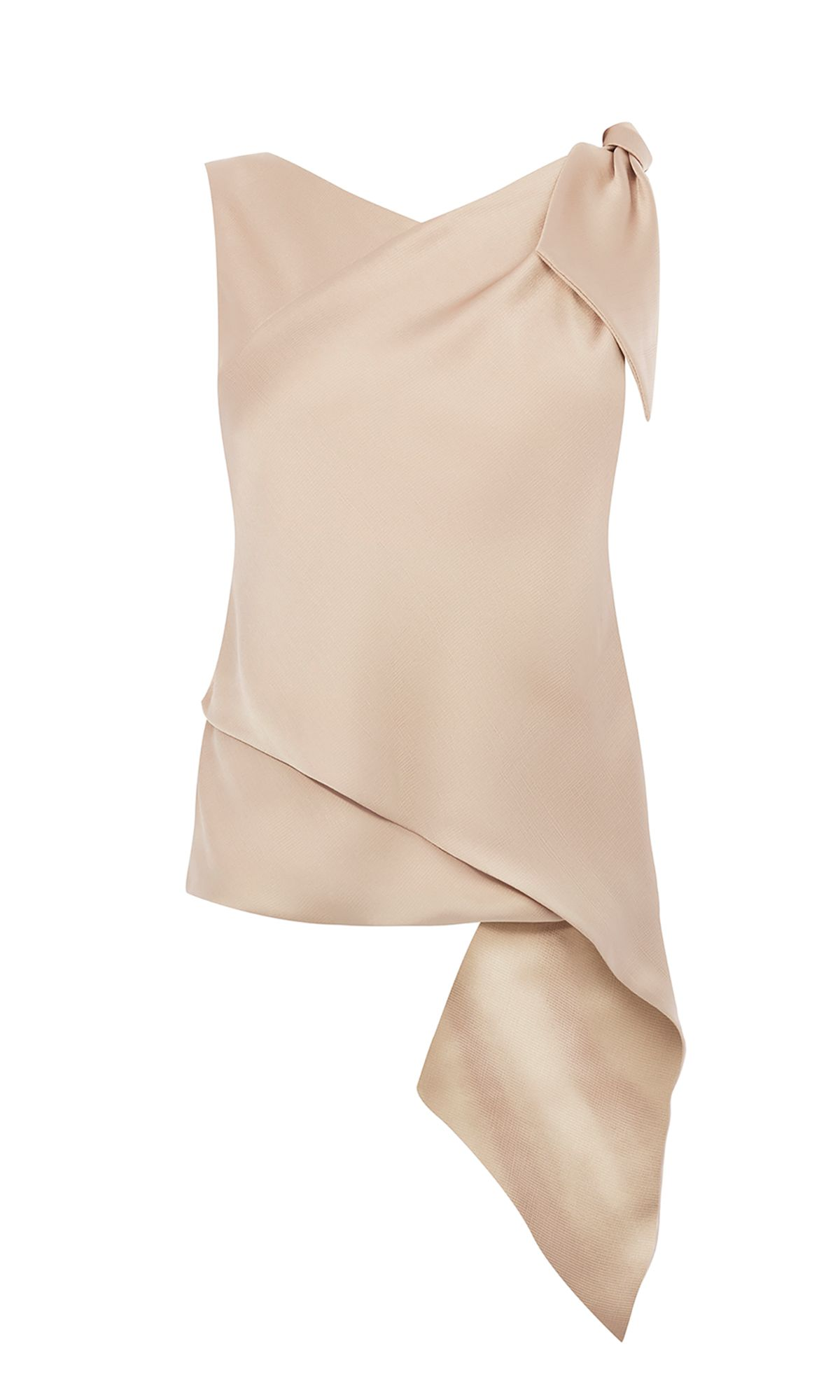 Karen Millen Knot Drape Asymmetric Top, Neutral