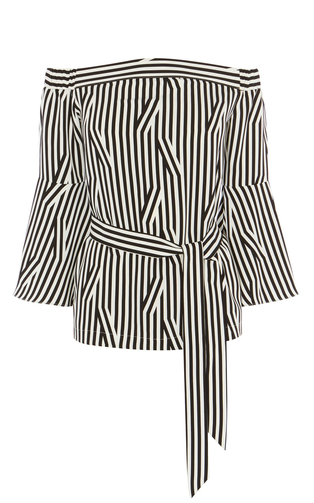 Karen Millen Striped Bardot Top, Black/White