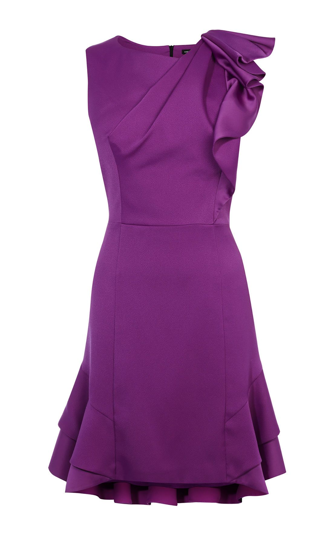 Karen Millen Ruffle Mini Dress, Purple