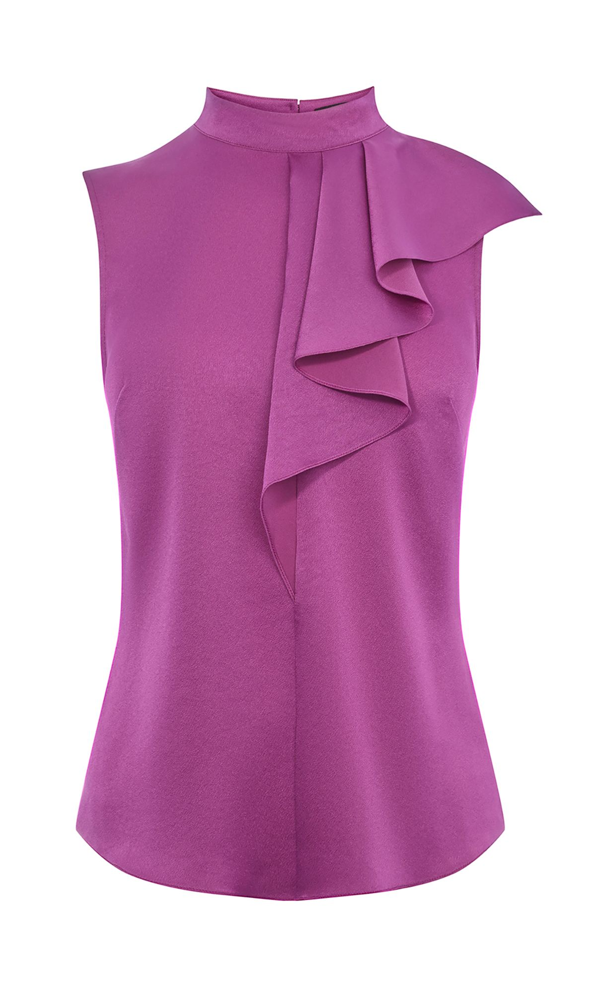 Karen Millen Ruffle Neck Top, Purple