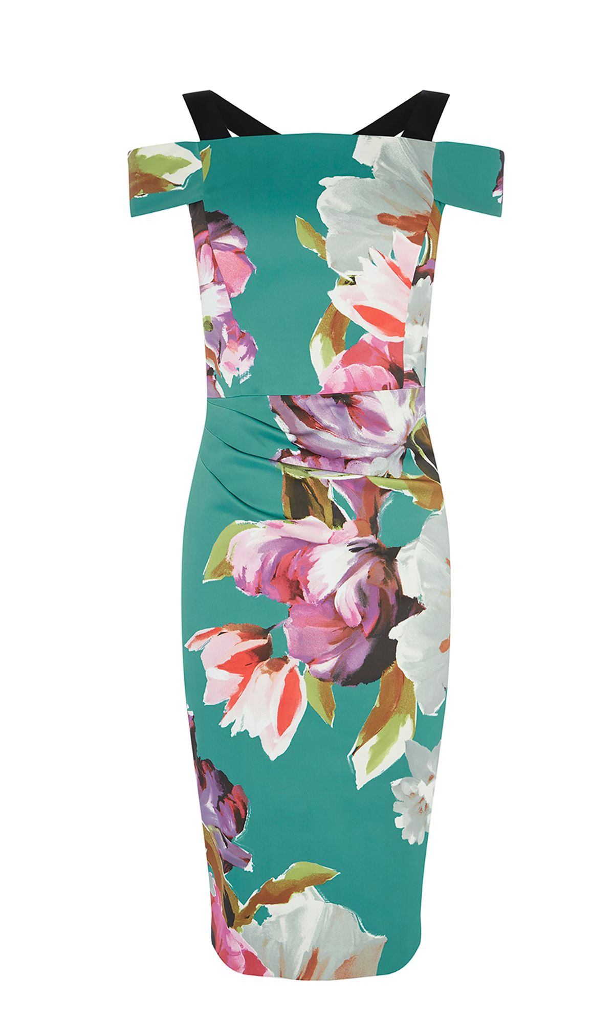 Karen Millen Floral Bardot Dress, Multi-Coloured