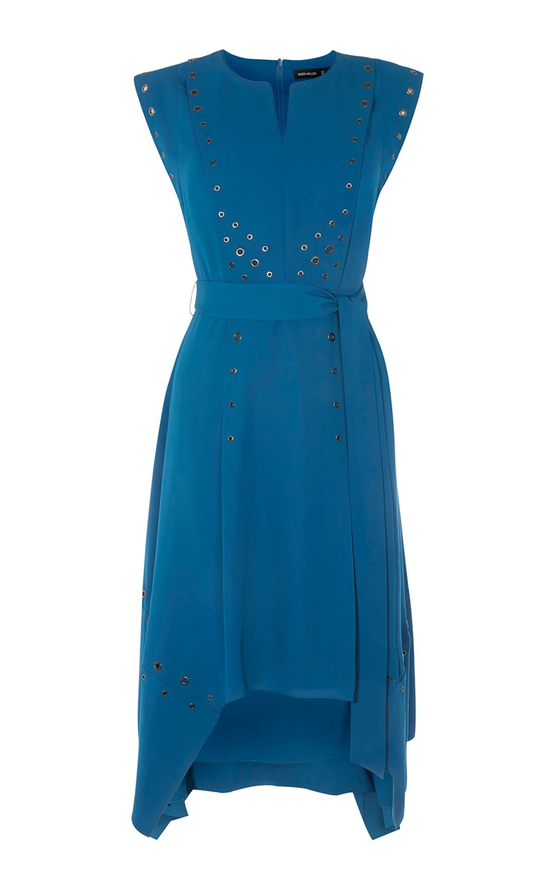 Karen Millen Midi Eyelet Dress, Blue