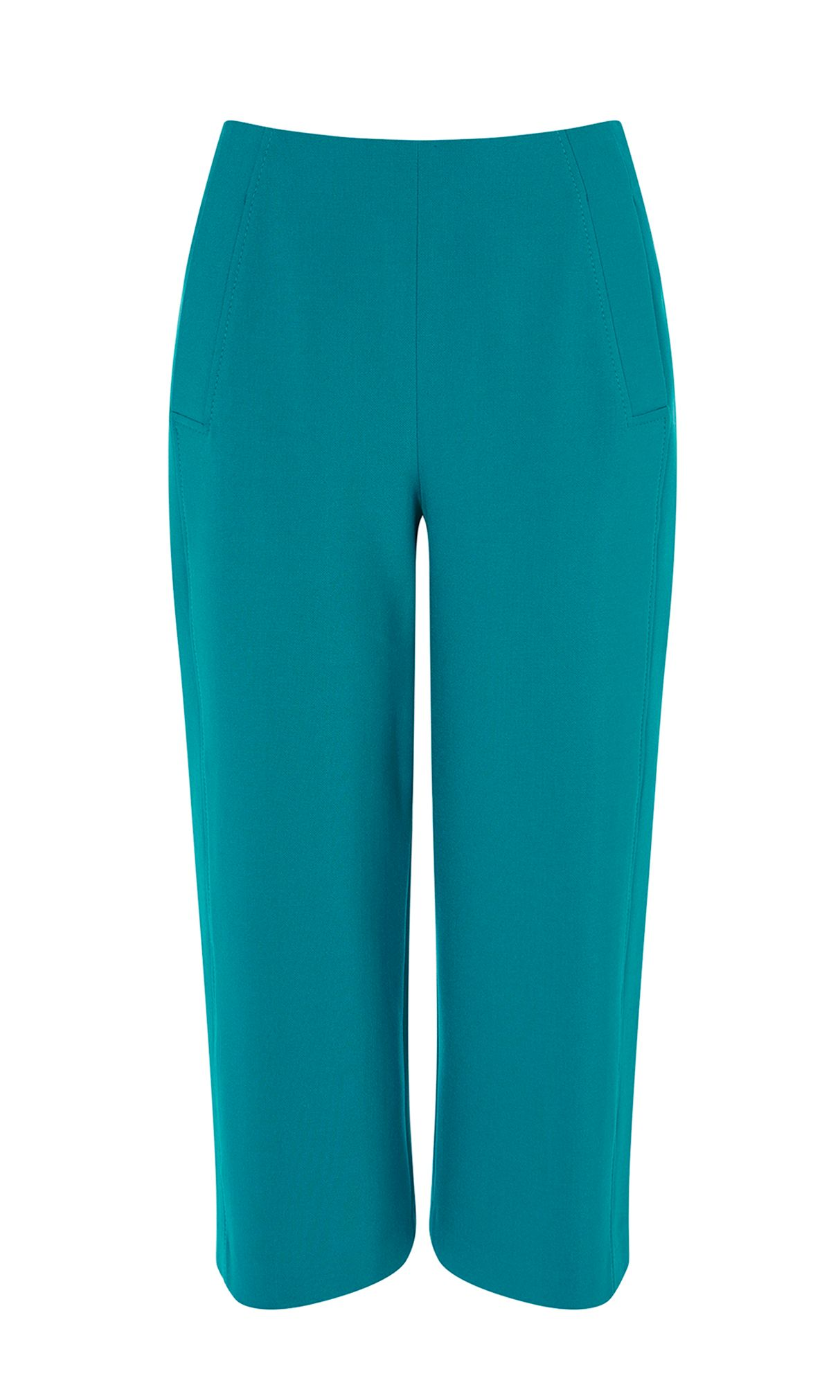 Karen Millen Cropped Wide Leg Trousers, Teal