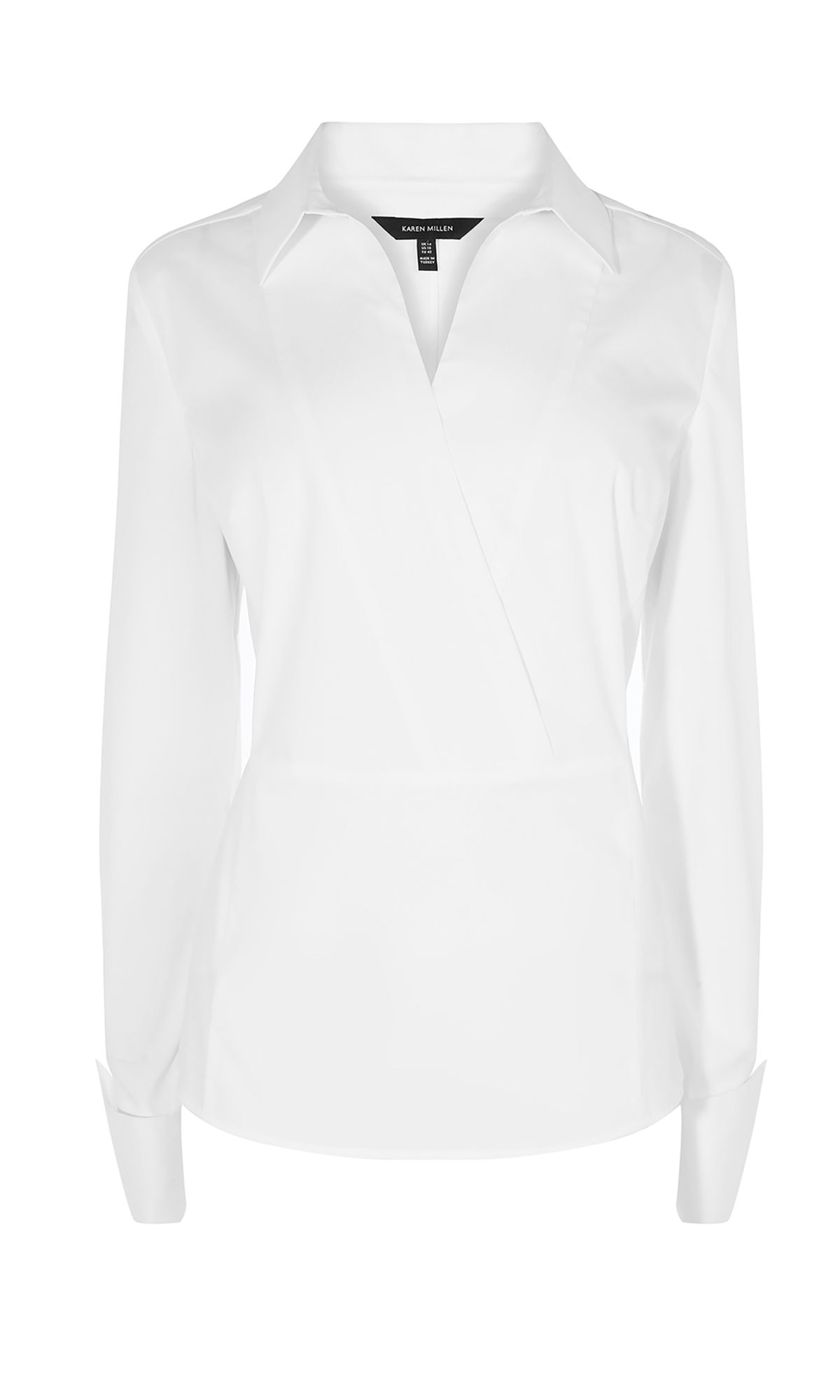 Karen Millen Wrap Cotton Shirt, White