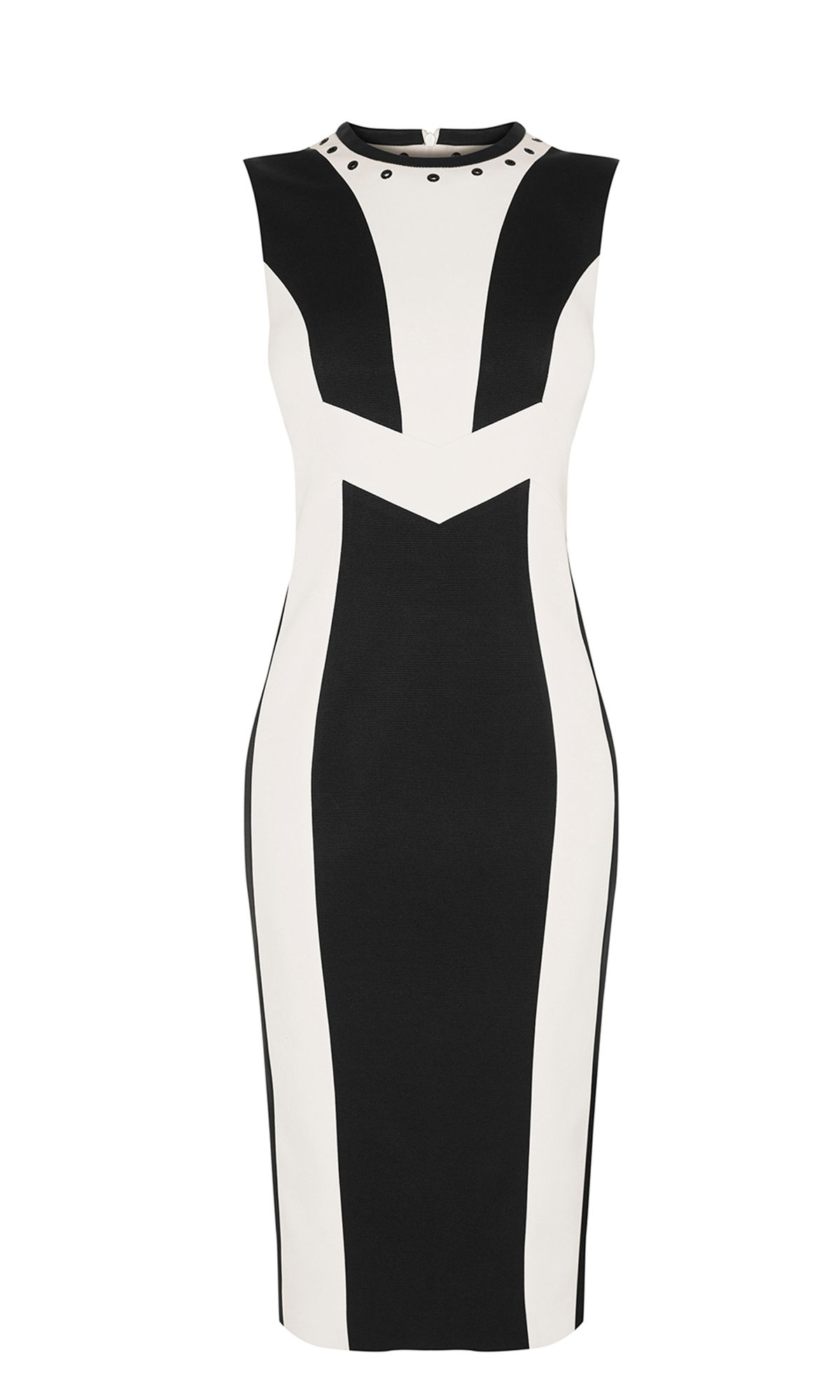 Karen Millen White Contrast Panel Dress, Black/White