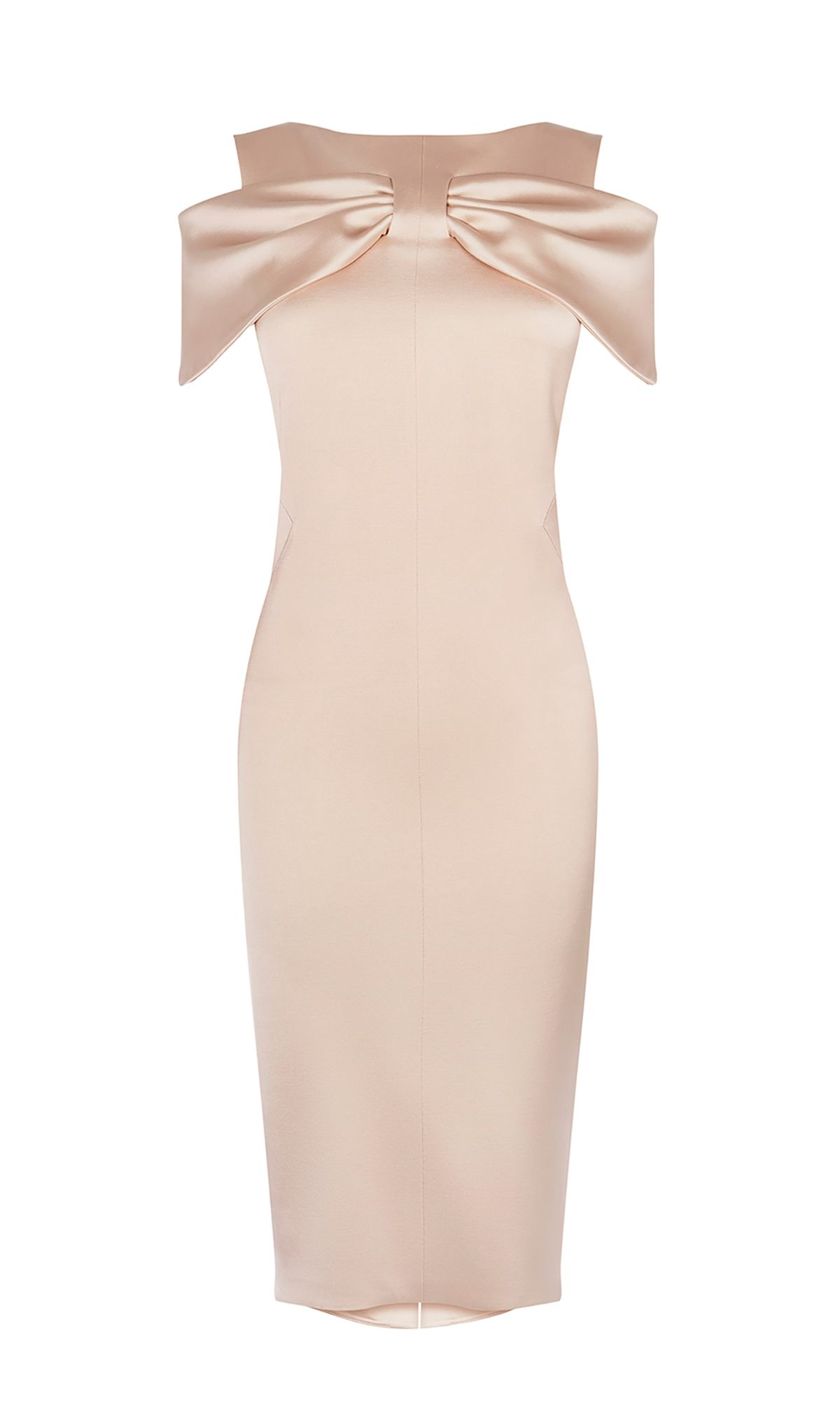 Karen Millen Satin Bow Pencil Dress, Champagne