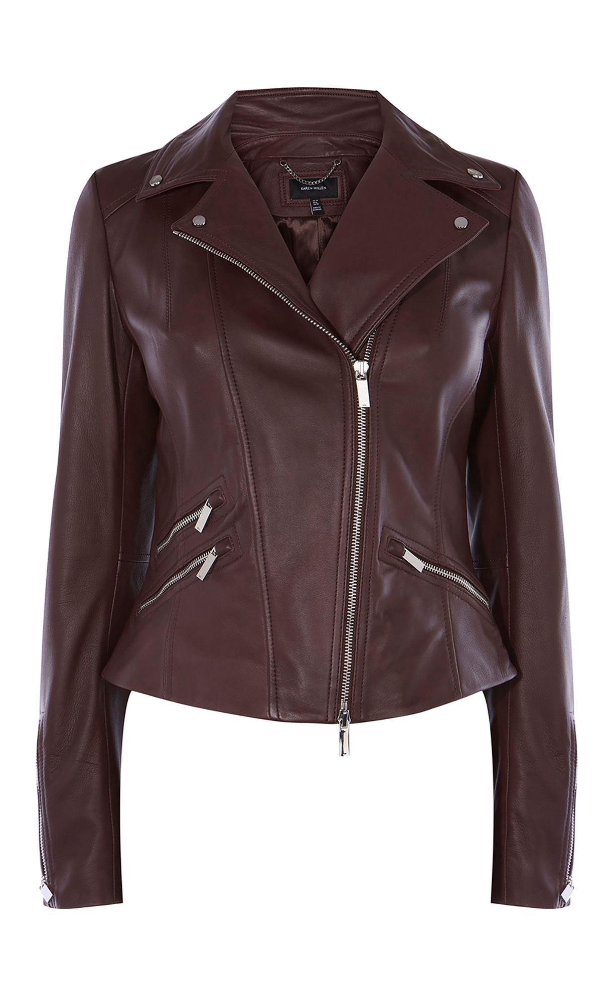 Karen Millen Leather Biker Jacket, Aubergine