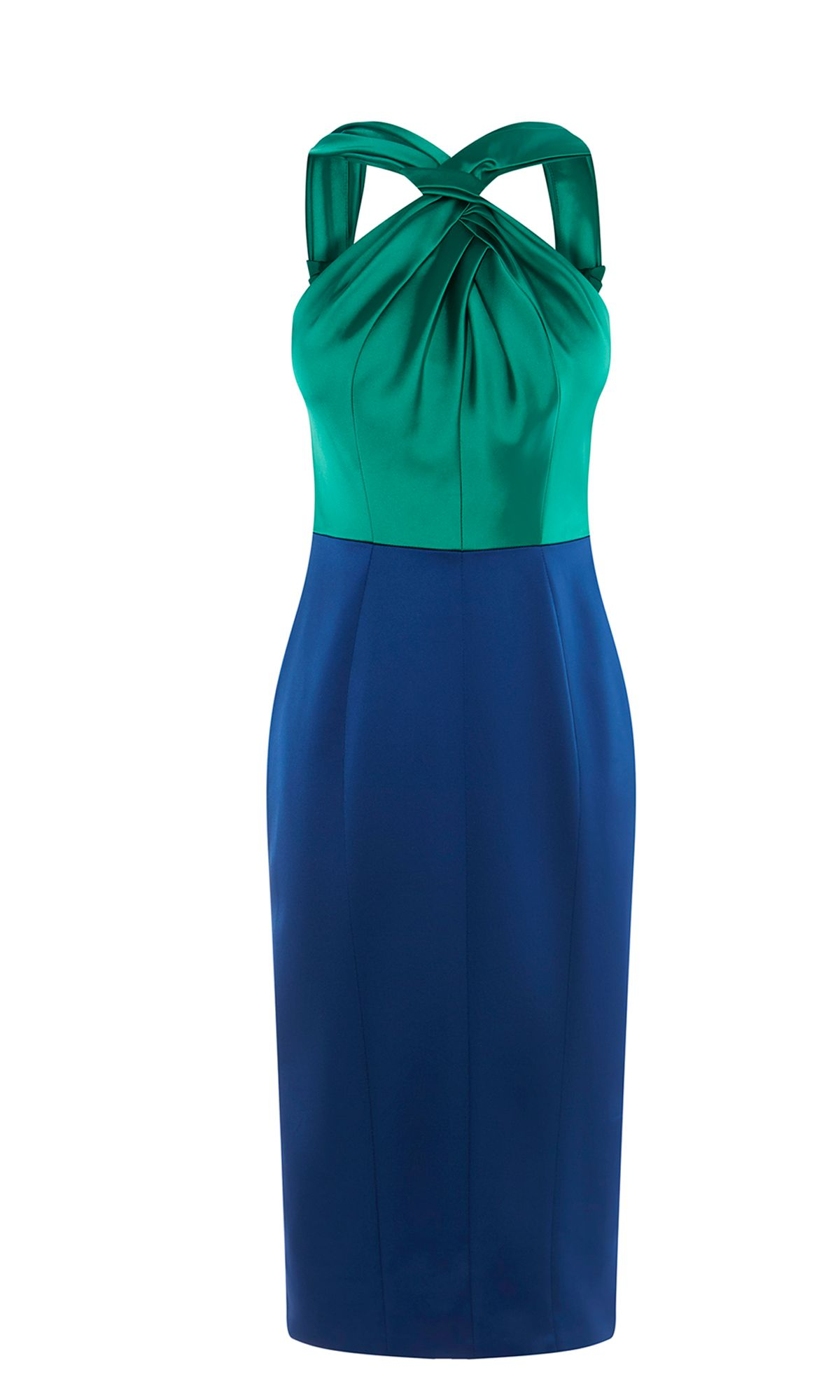 Karen Millen Satin Halterneck Pencil Dress, Multi-Coloured