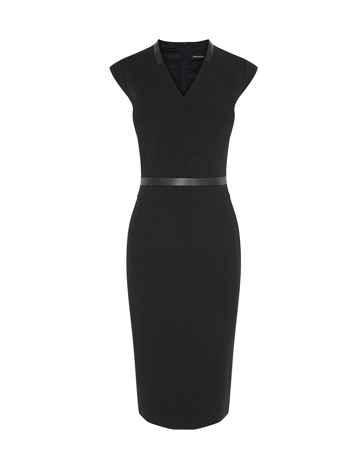 Karen Millen Contrast Waistbelt Dress, Black