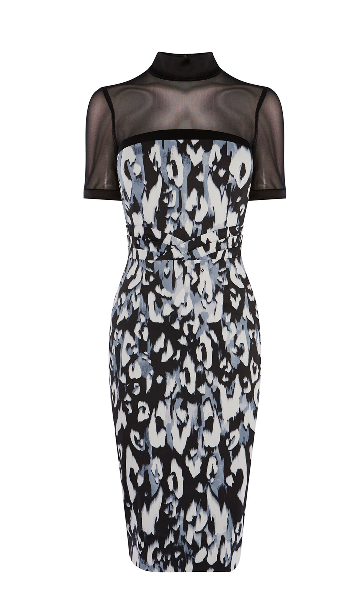 Karen Millen Leopard Print Pencil Dress, Multi-Coloured